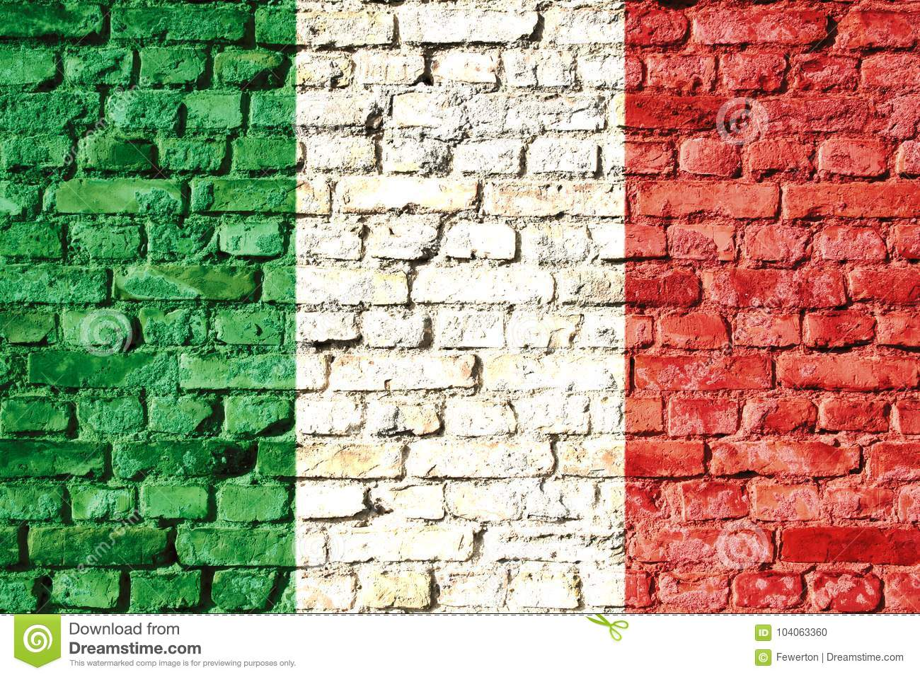 Italy national flag painted on a brick wall with the traditional green, white and red colors.