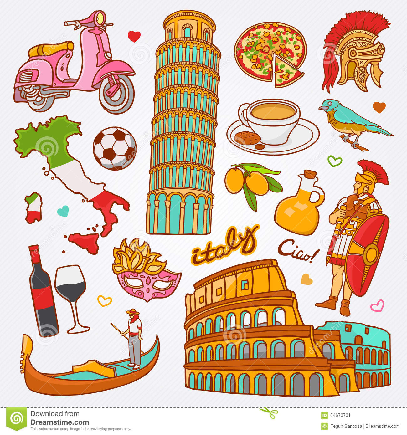 Traditional Symbols Of Italy In The Form Of Heart Stock Vector