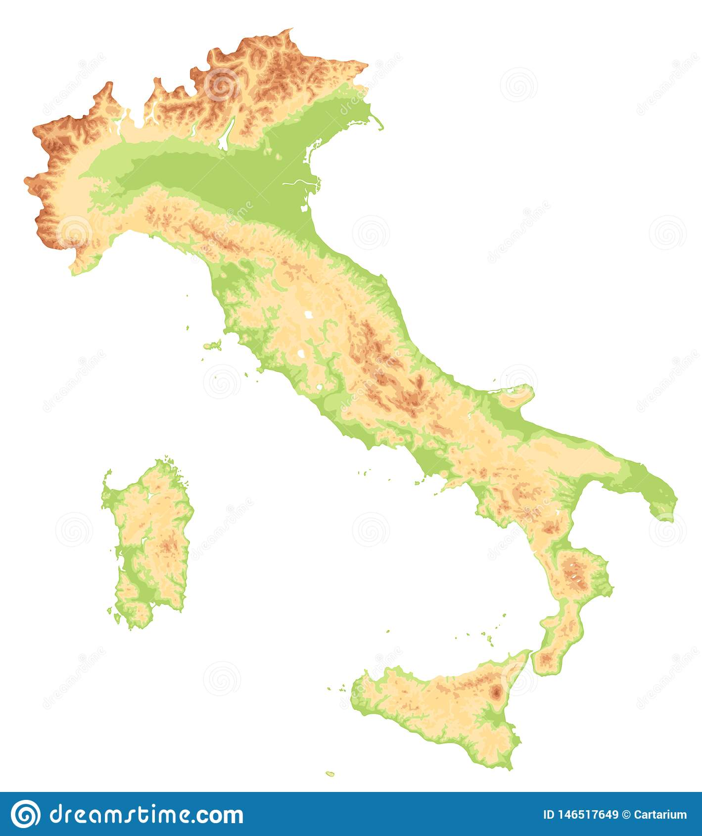 Picture of: Italy Physical Map Cut On White No Text Stock Vector Illustration Of Geography Rome 146517649