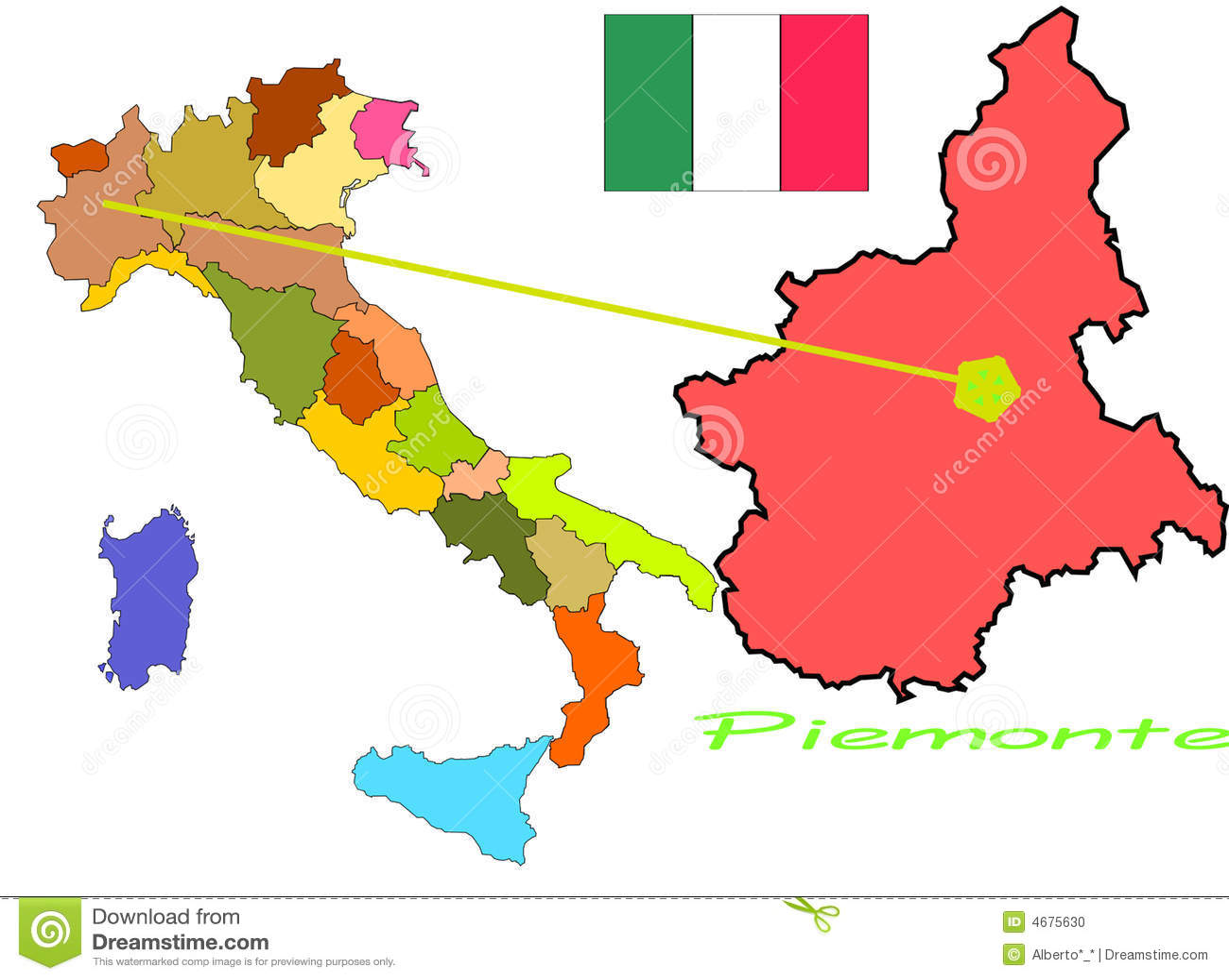 Italy Piemonte Stock Vector Illustration Of Illustration 4675630