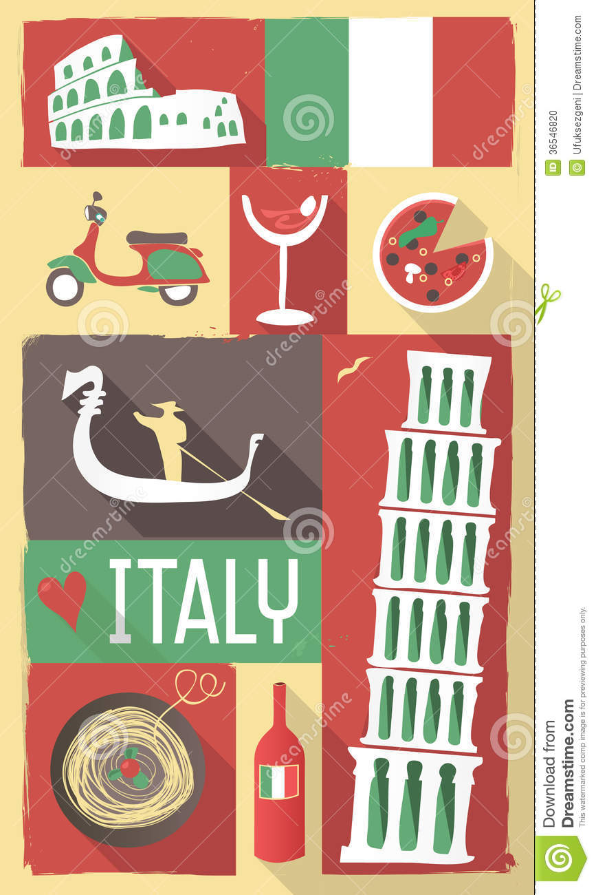 Stock Photo: Italy poster & postcard. Image: 36546820