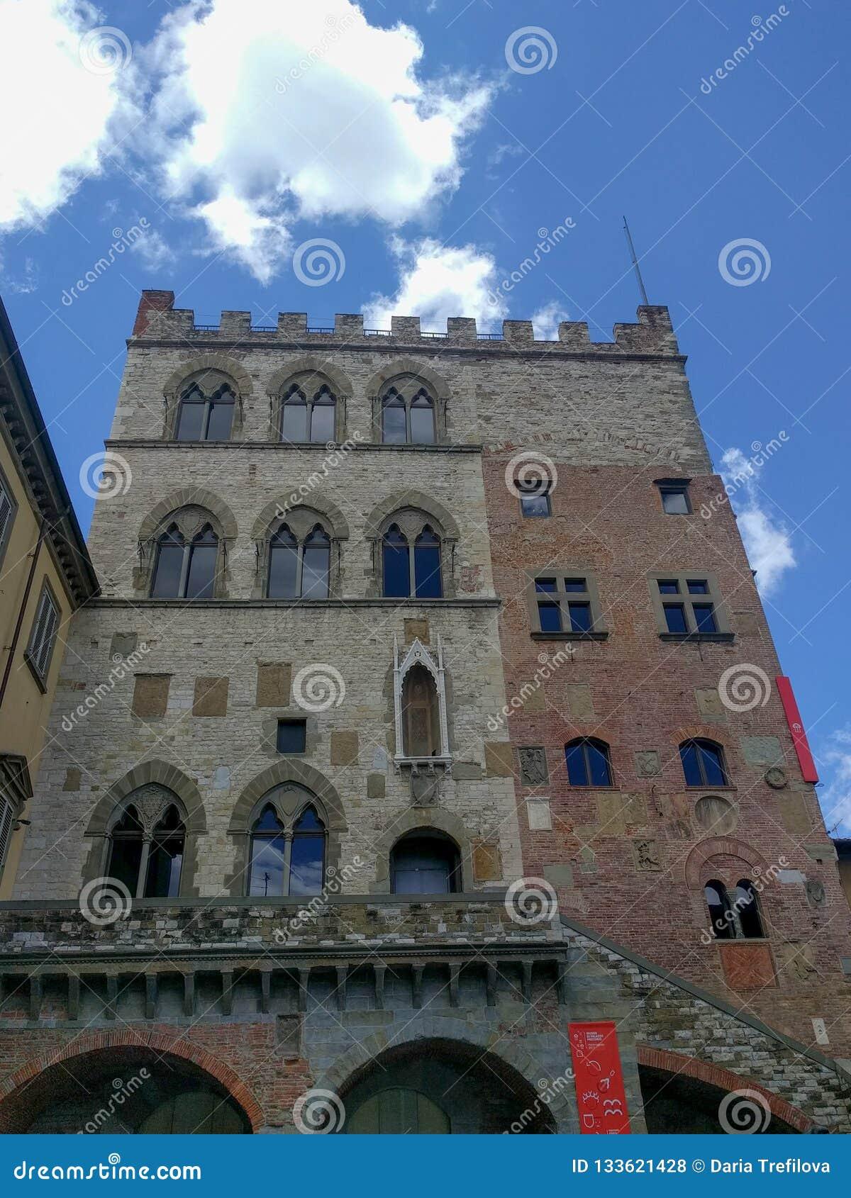 Palazzo Pretorio in Prato in a sunny day, Tuscany, Italy