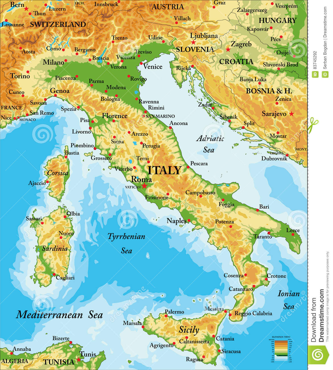 Map Of Italy And Austria With Cities.Italy Relief Map Stock Vector Illustration Of Austria 83745292