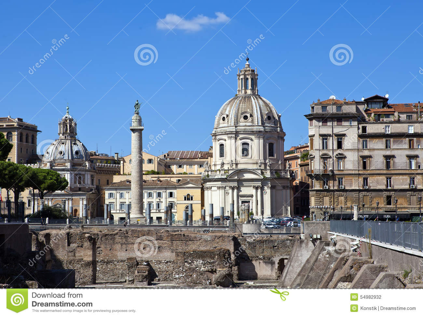 Italy. Rome. Trojan column, churches of Santa Maria di Loreto and Santissima Nome di Maria (Most Holy Name of Mary ),and ruins of