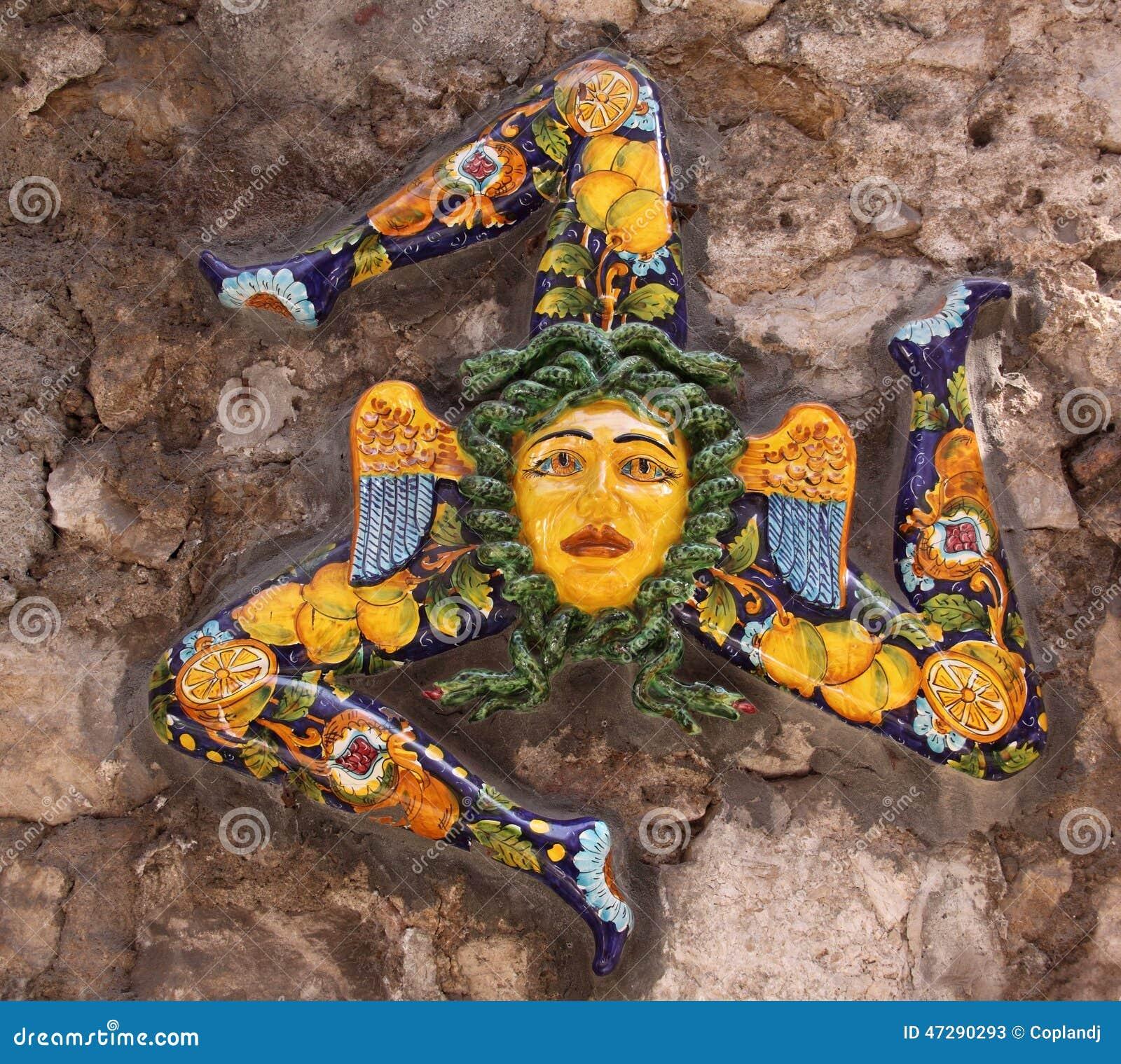 Troina Italy  City pictures : Italy, Sicily, Taormina. Trinacria the ancient symbol of Sicily in ...
