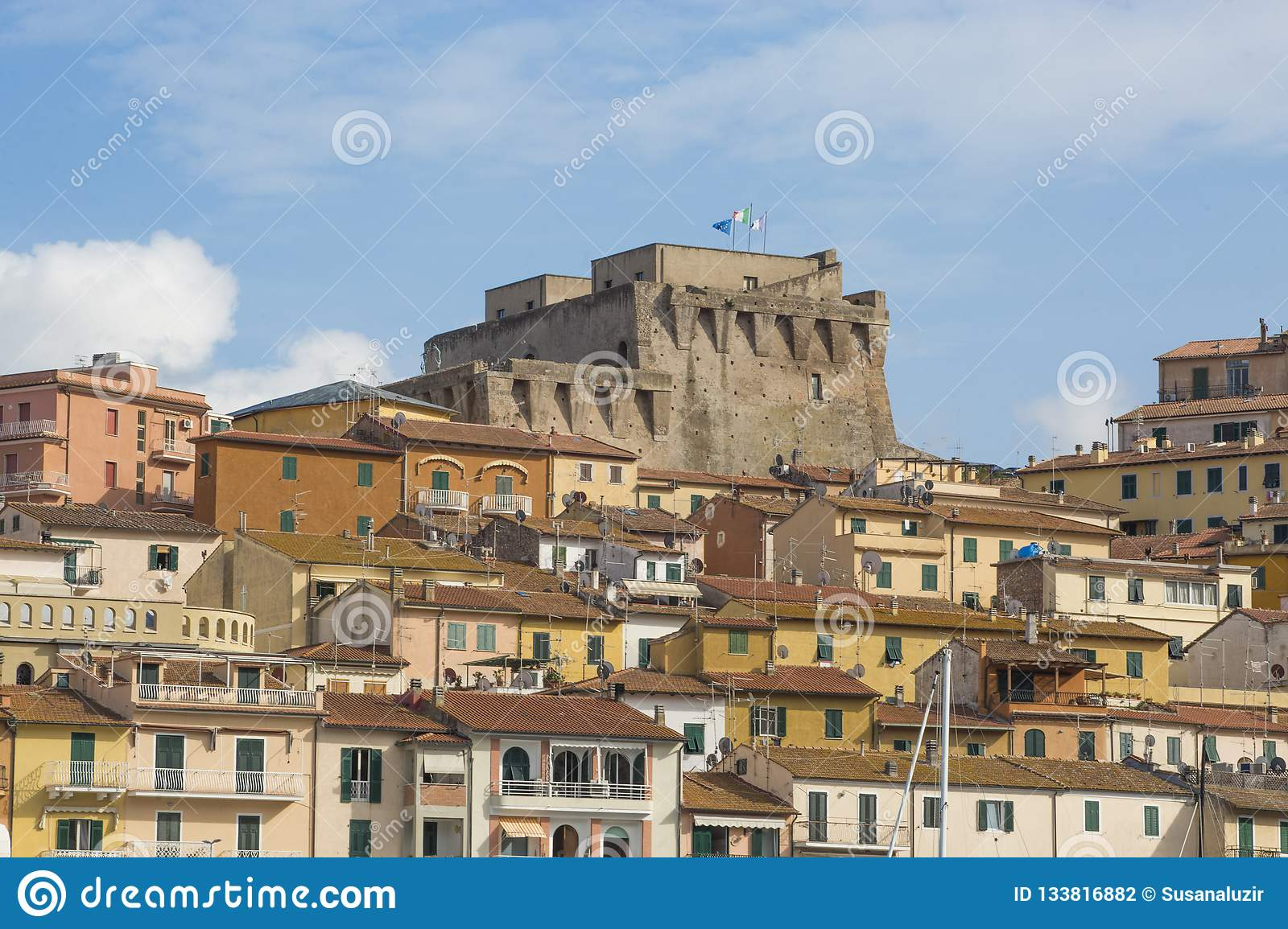 ITALY - SPANISH FORTRESS - 6 SEPTEMBER 2018. The Fortezza Spagnola Spanish Fortress is a coastal fortification that dominates Po