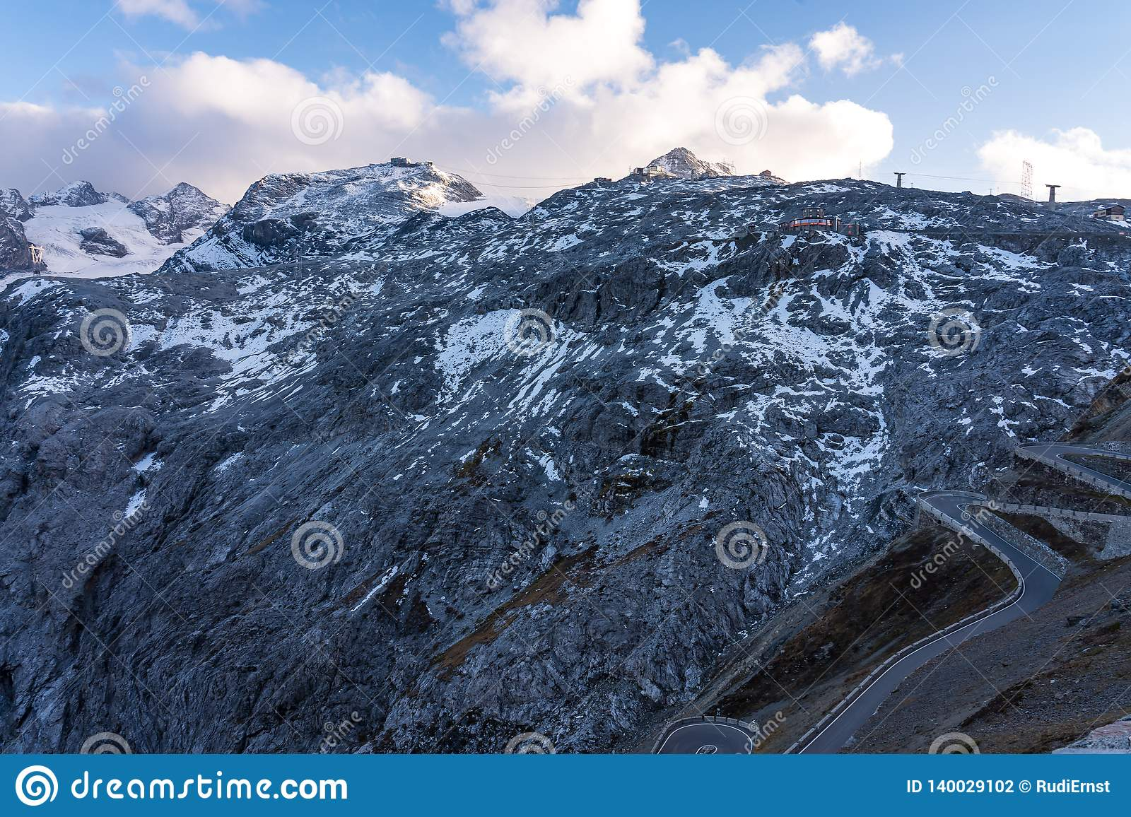 Italy, Stelvio National Park. Famous road to Stelvio Pass in Ortler Alps