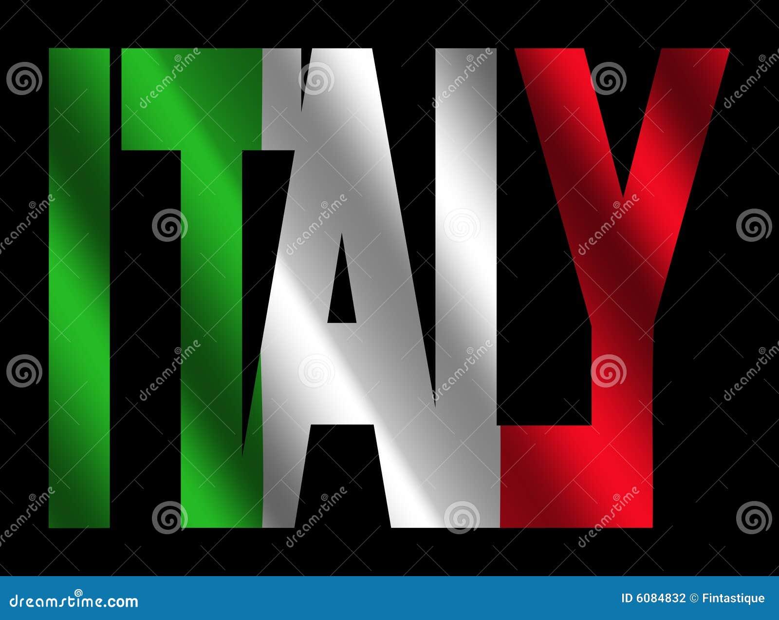 Italy text with Italian flag