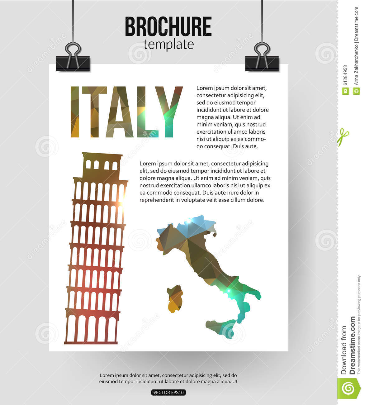 Italy Travel Background. Brochure With Italy Map Stock Vector ...
