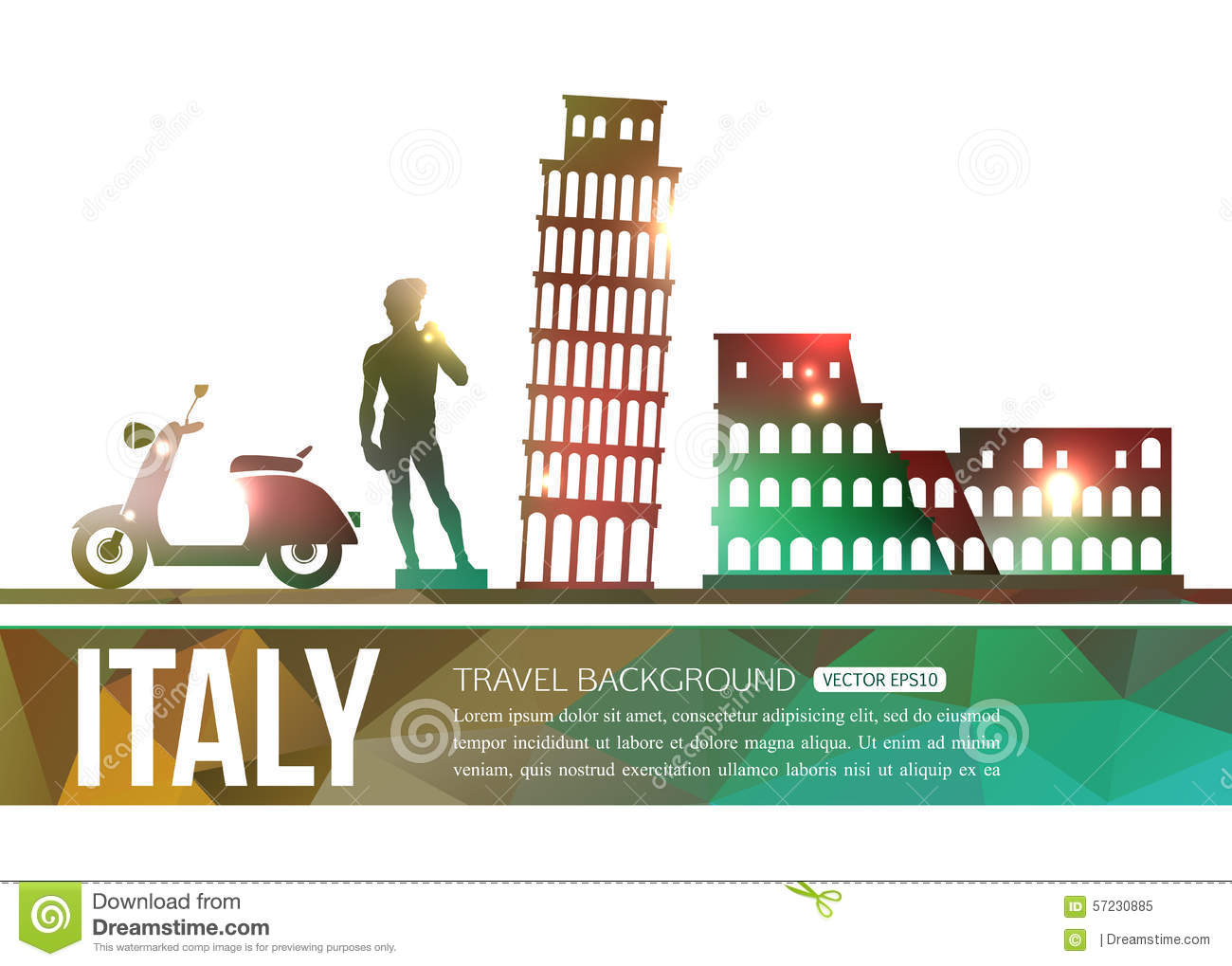 Italy Travel Background With Place For Text Stock Vector