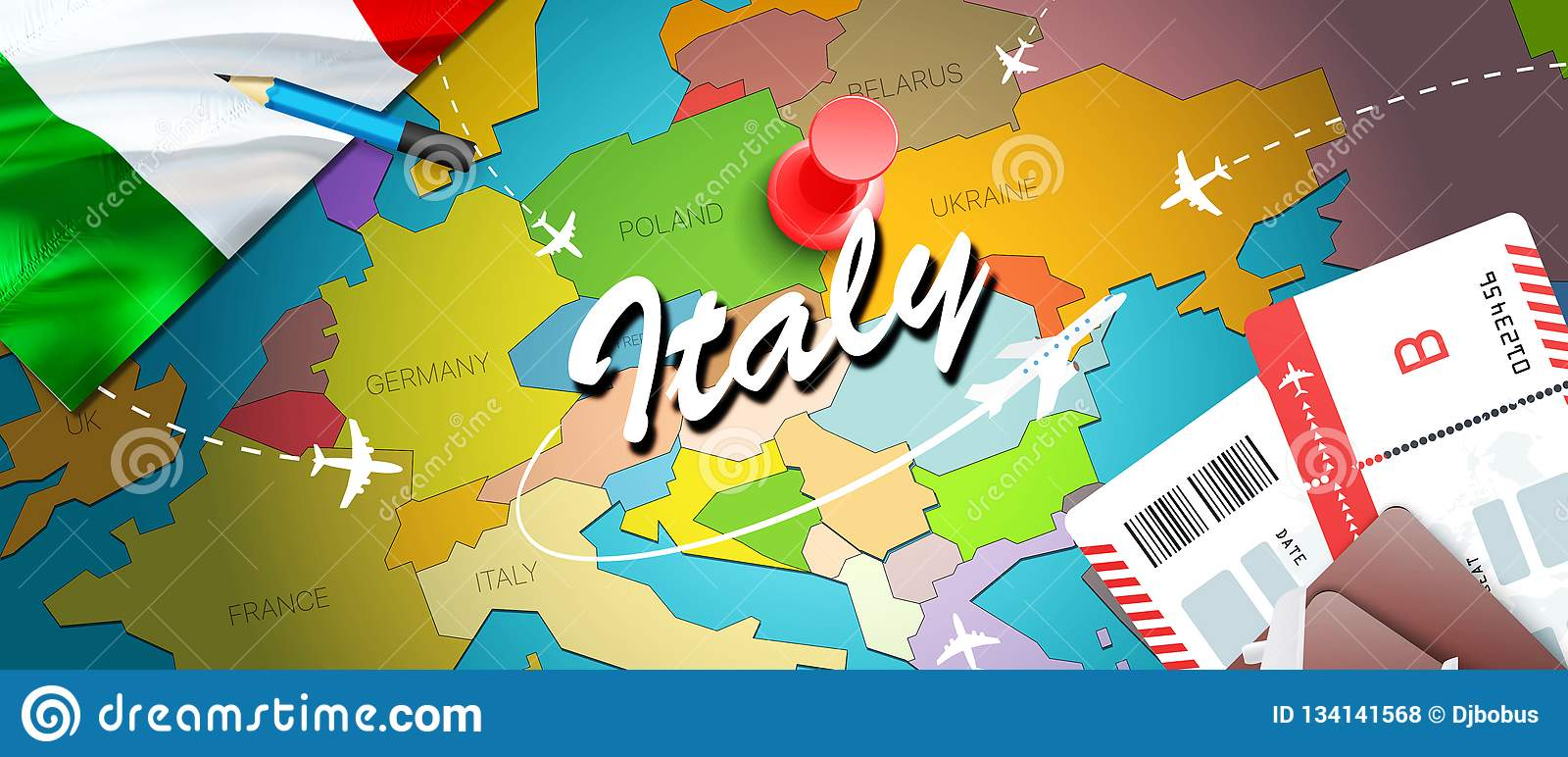 Italy travel concept map background with planes, tickets. Visit Italy travel and tourism destination concept. Italy flag on map.