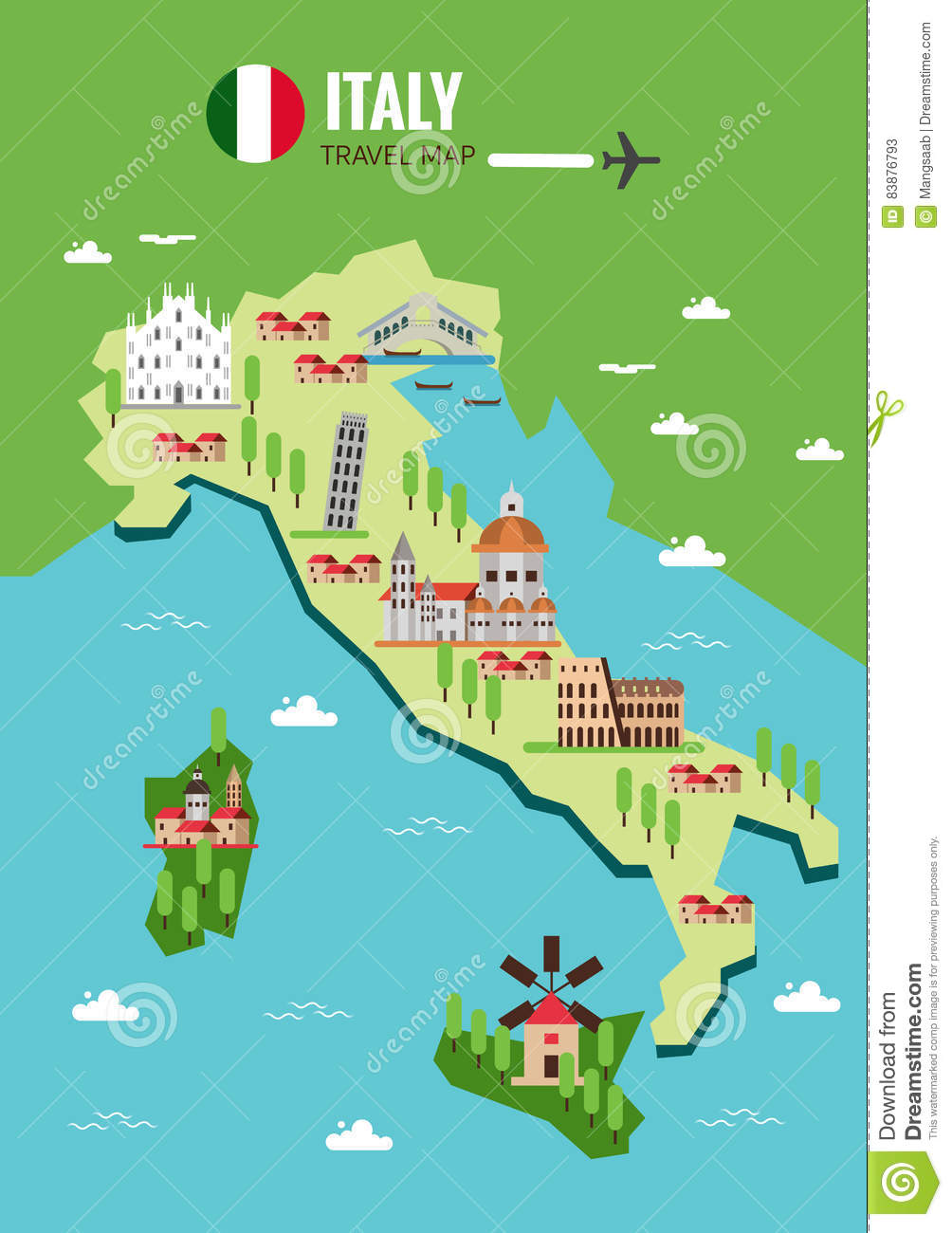 Italy Travel Map Italian Colosseum Milan Venice Sicilia And – Travel Map Of Italy