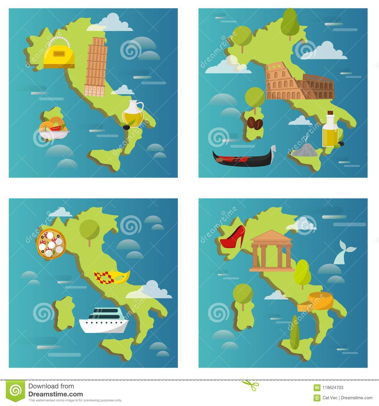 Map Of Italy For Tourists.Italy Travel Map Vector Attraction Tourist Symbols Sightseeing World