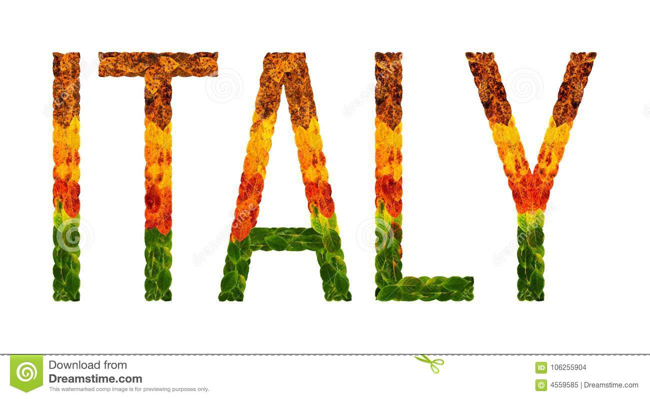 Italy Word Is Written With Leaves White Isolated Background Banner For Printing Beautiful Inscription Poster Of Color