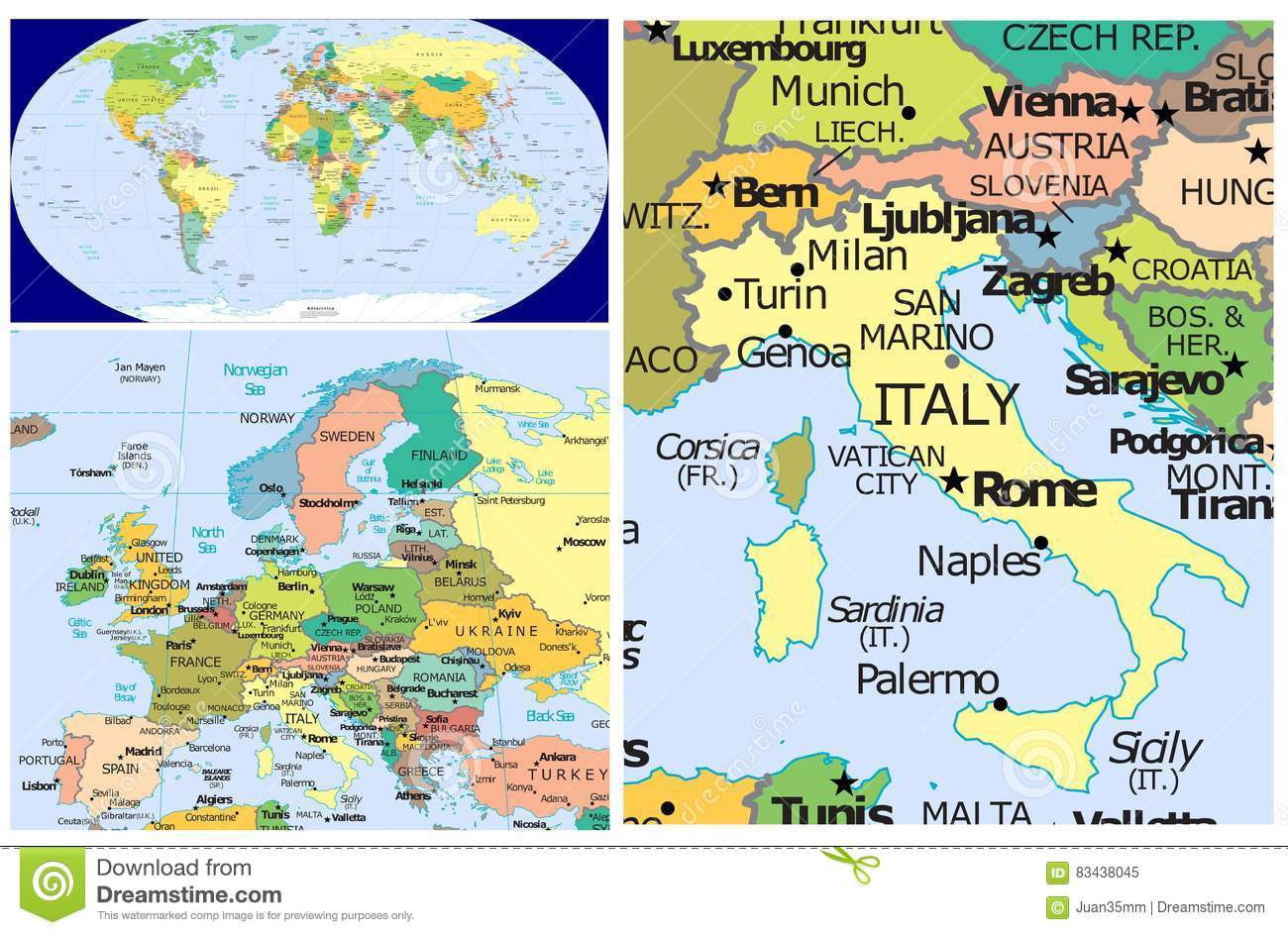 Italy On Map Of World.Italy World Stock Illustration Illustration Of Asia 83438045