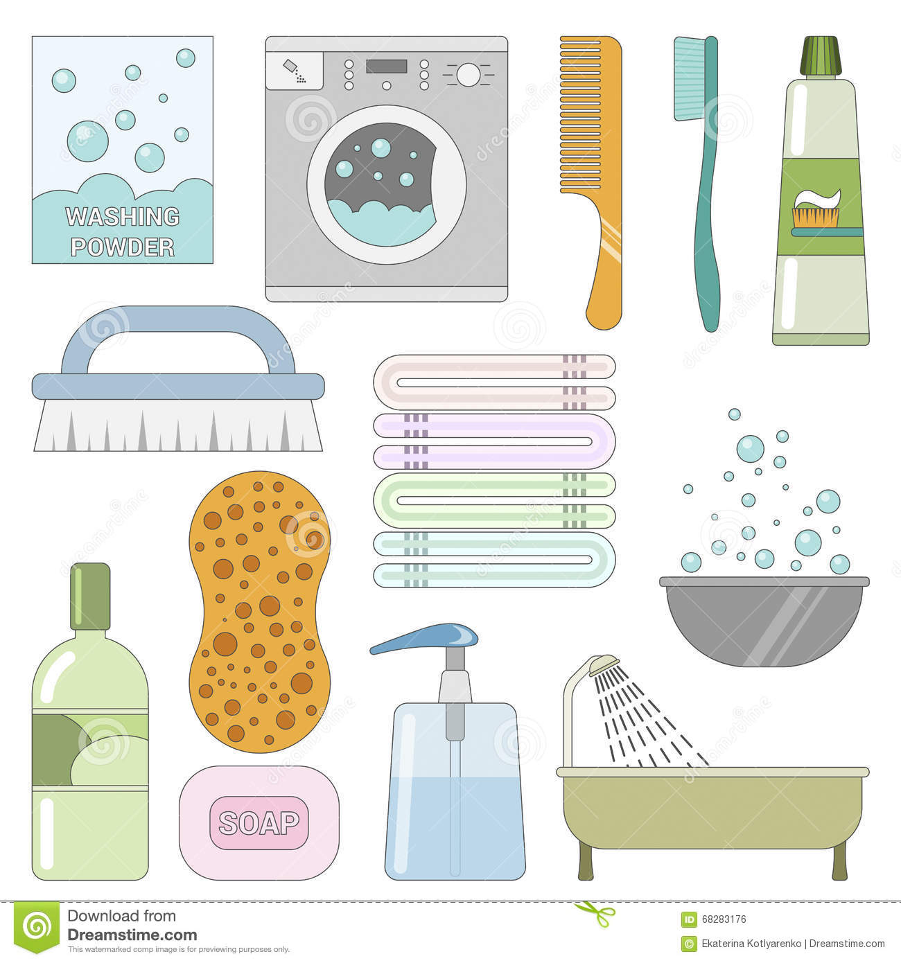 Items in the bathroom set of flat icons stock vector for Bathroom things