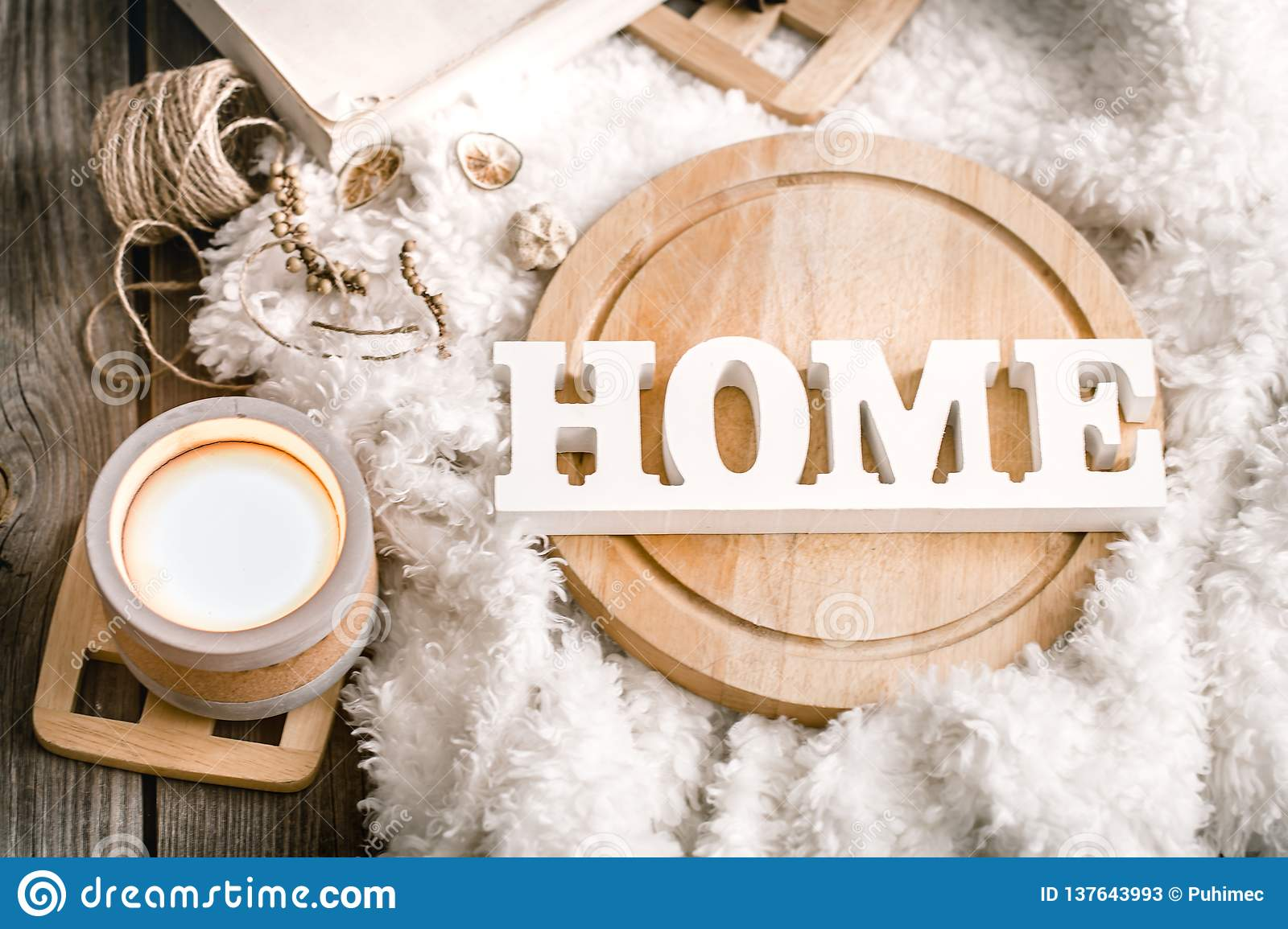 Items Of Cozy Home Decor With Wooden Letters Stock Image Image Of Craft Enamel 137643993