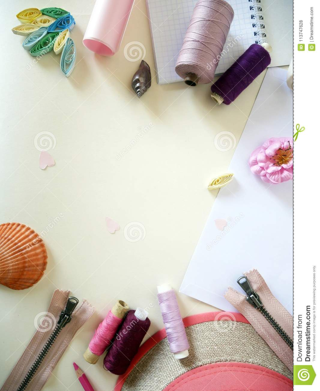 Items For Needlework On A Light Background Preparation Mothers Day Objects In Pastel Color Creativity And The Holiday