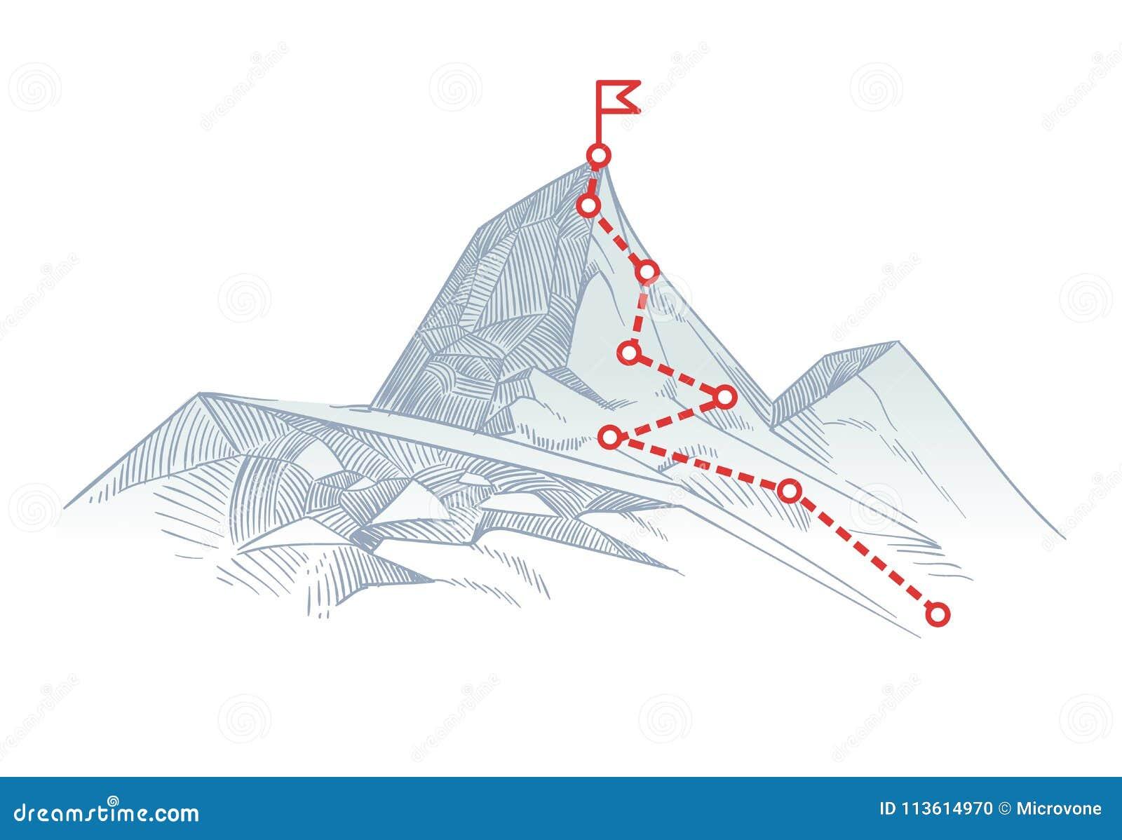 Itinéraire d alpinisme à faire une pointe Chemin de voyage d affaires en cours au concept de vecteur de succès