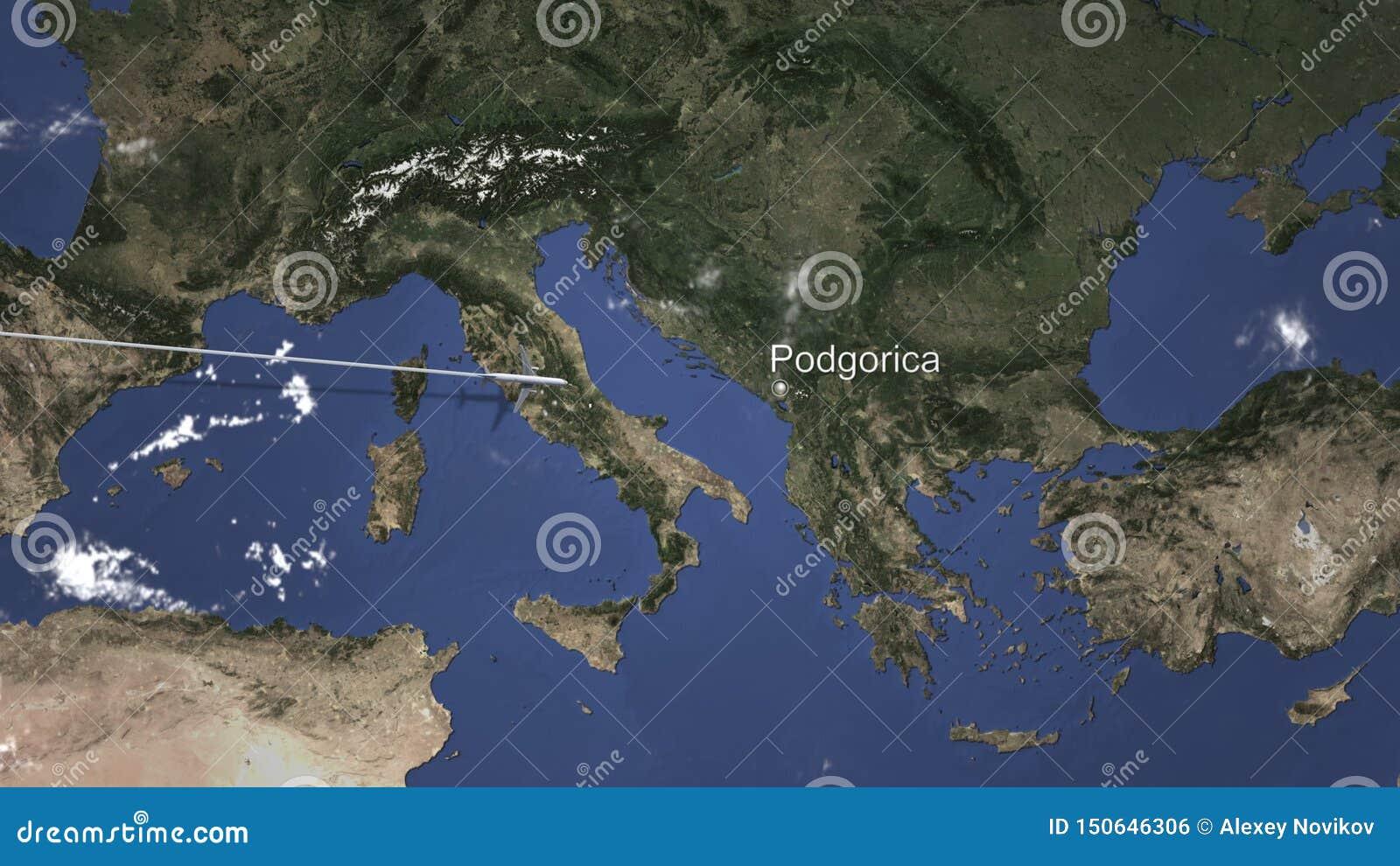 Itinéraire d un vol plat commercial vers Podgorica, Monténégro sur la carte rendu 3d