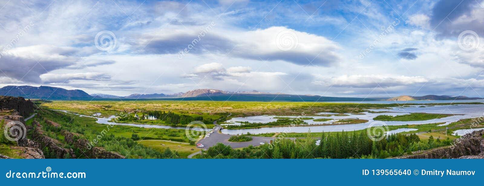 Itinéraire de touristes Islande Scandinavie de cercle d or de panorama de parc national de Thingvellir