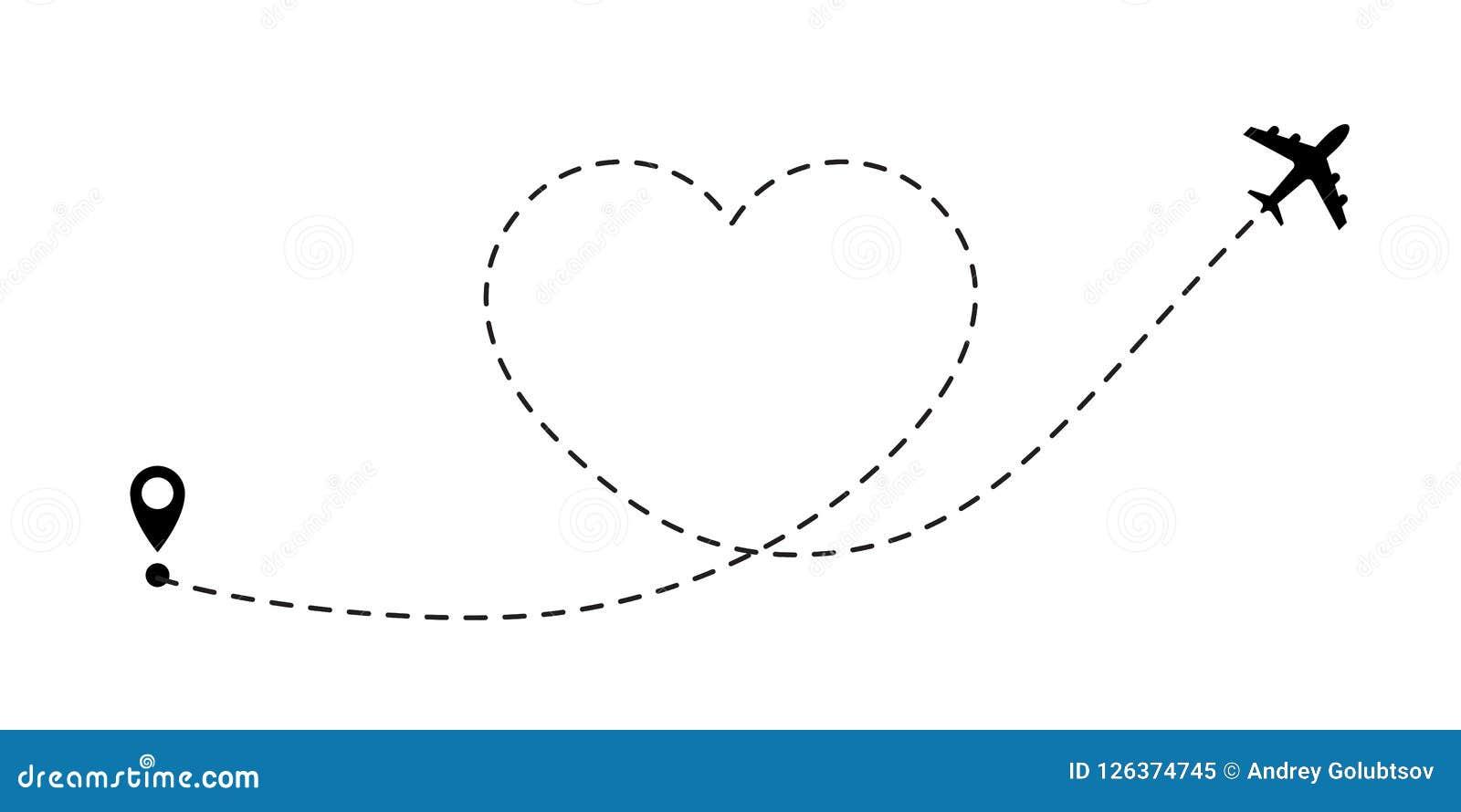 Itinéraire de voyage d amour Ligne icône d avion de vecteur de chemin de voyage d itinéraire de vol d avion d air