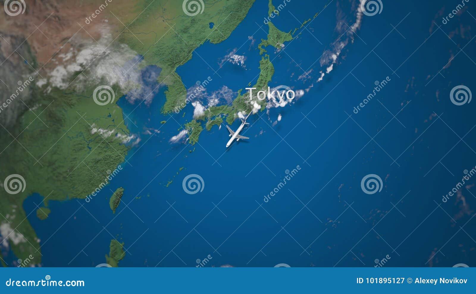 Itinéraire du vol commercial d avion de Tokyo vers Jakarta sur le globe de la terre Animation internationale d introduction de vo