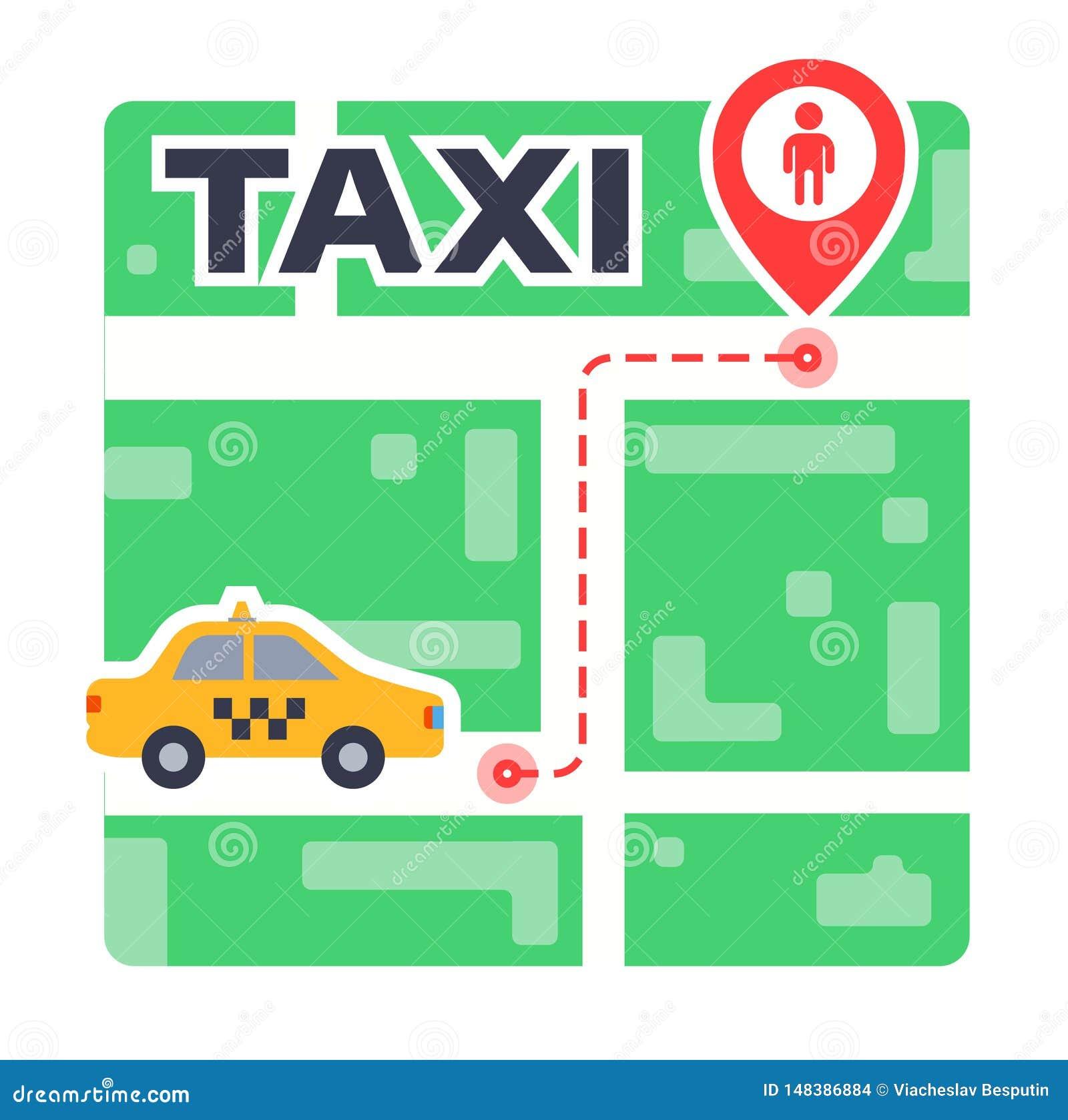 Itinerario del taxi sulla mappa da punto a punto Aspettando l automobile