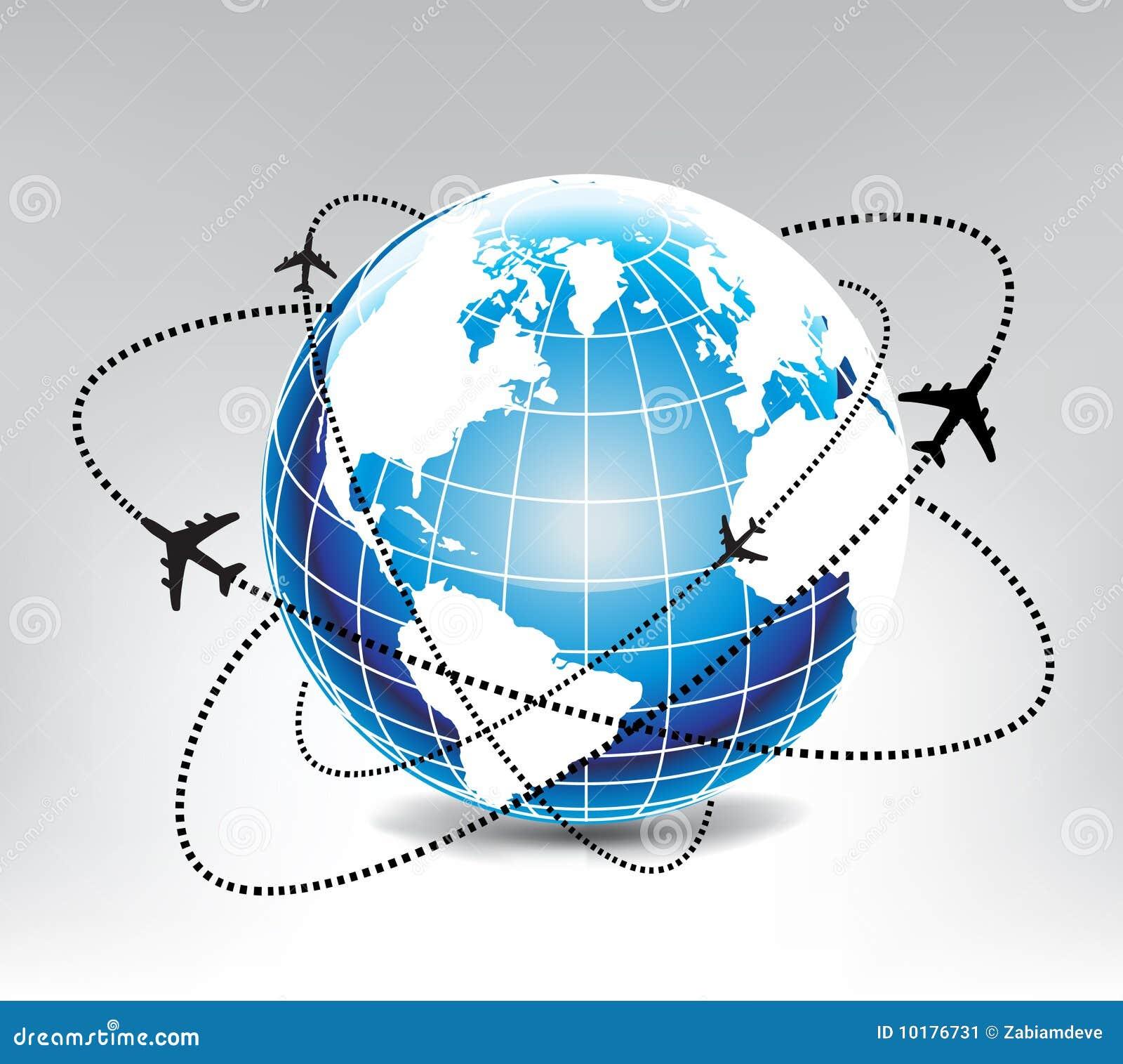 Itinerario dell aeroplano in mondo blu