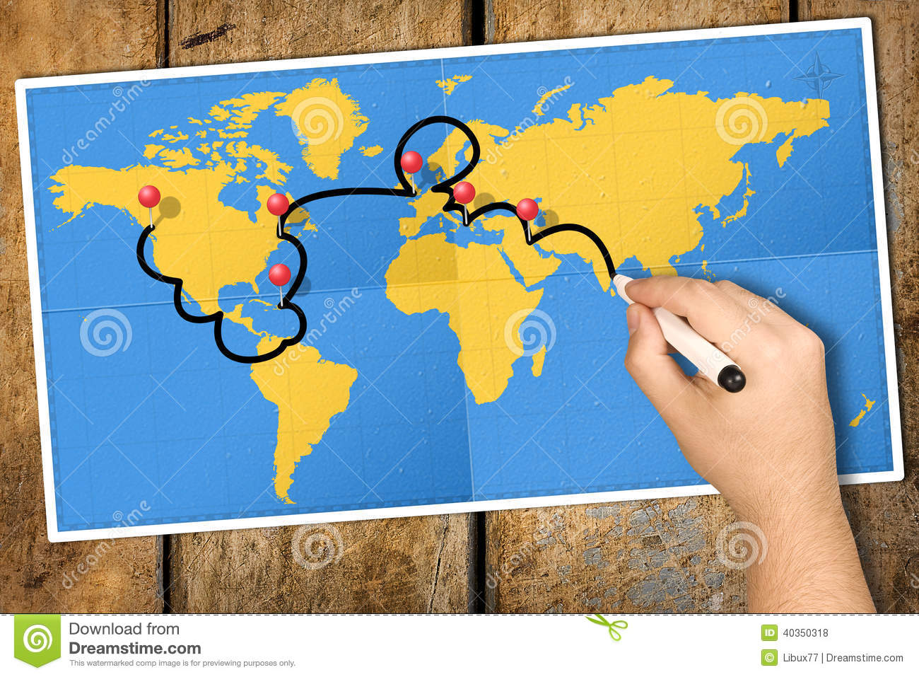 Itinerary World Map Travel Hand Marker PushPin Photo – World Map Travel Pins
