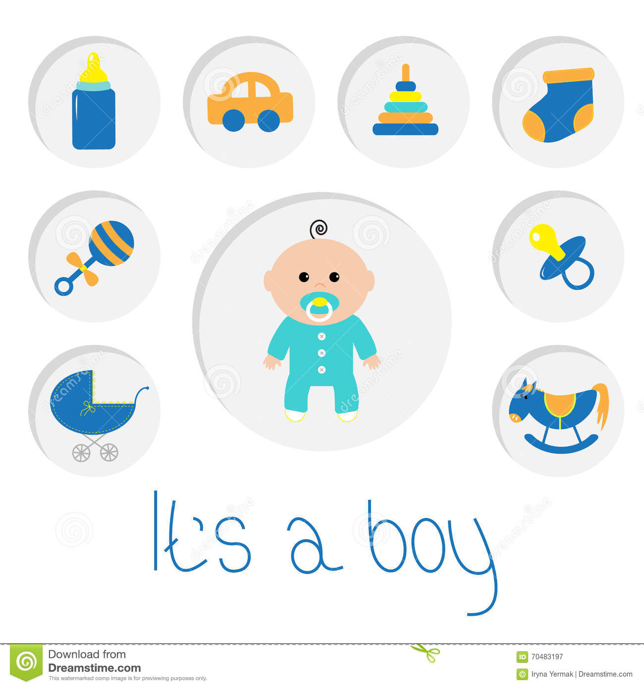 Its A Boy Baby Boy Shower Card With Bottle Horse Rattle