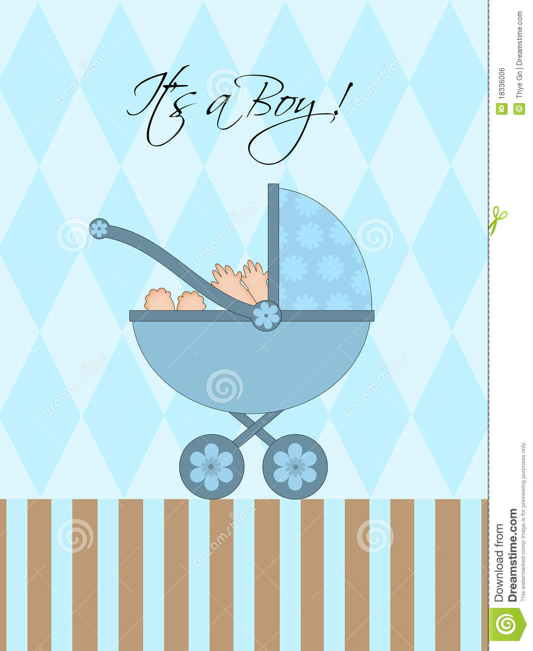 Its A Boy Blue Baby Pram Royalty Free Stock Image - Image: 18336006