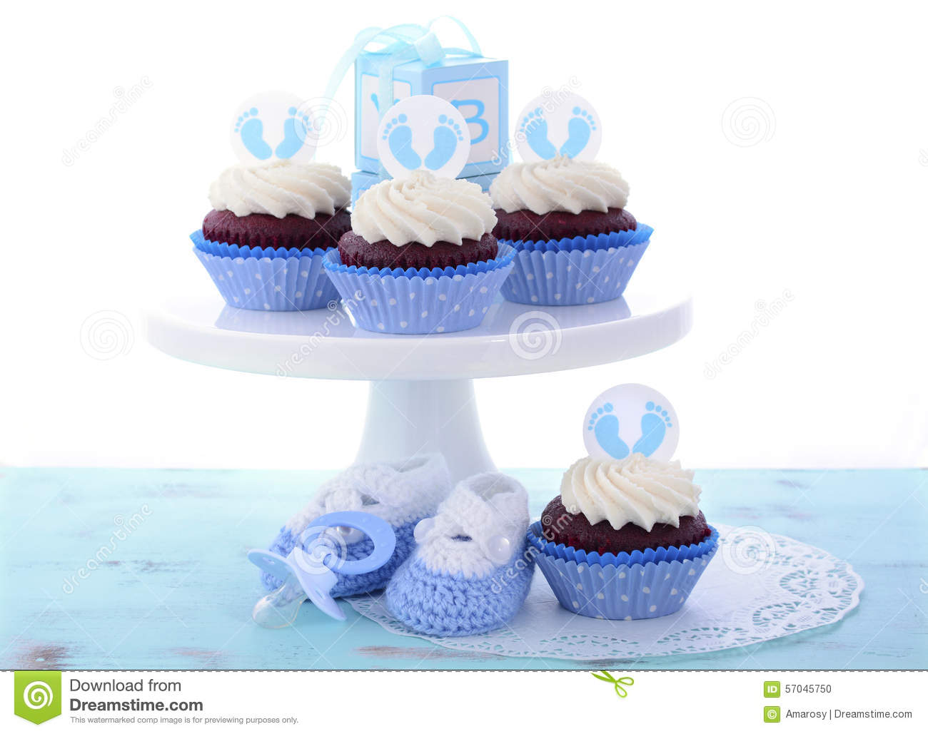 Its A Boy Blue Baby Shower Cupcakes Stock Photo - Image: 57045750