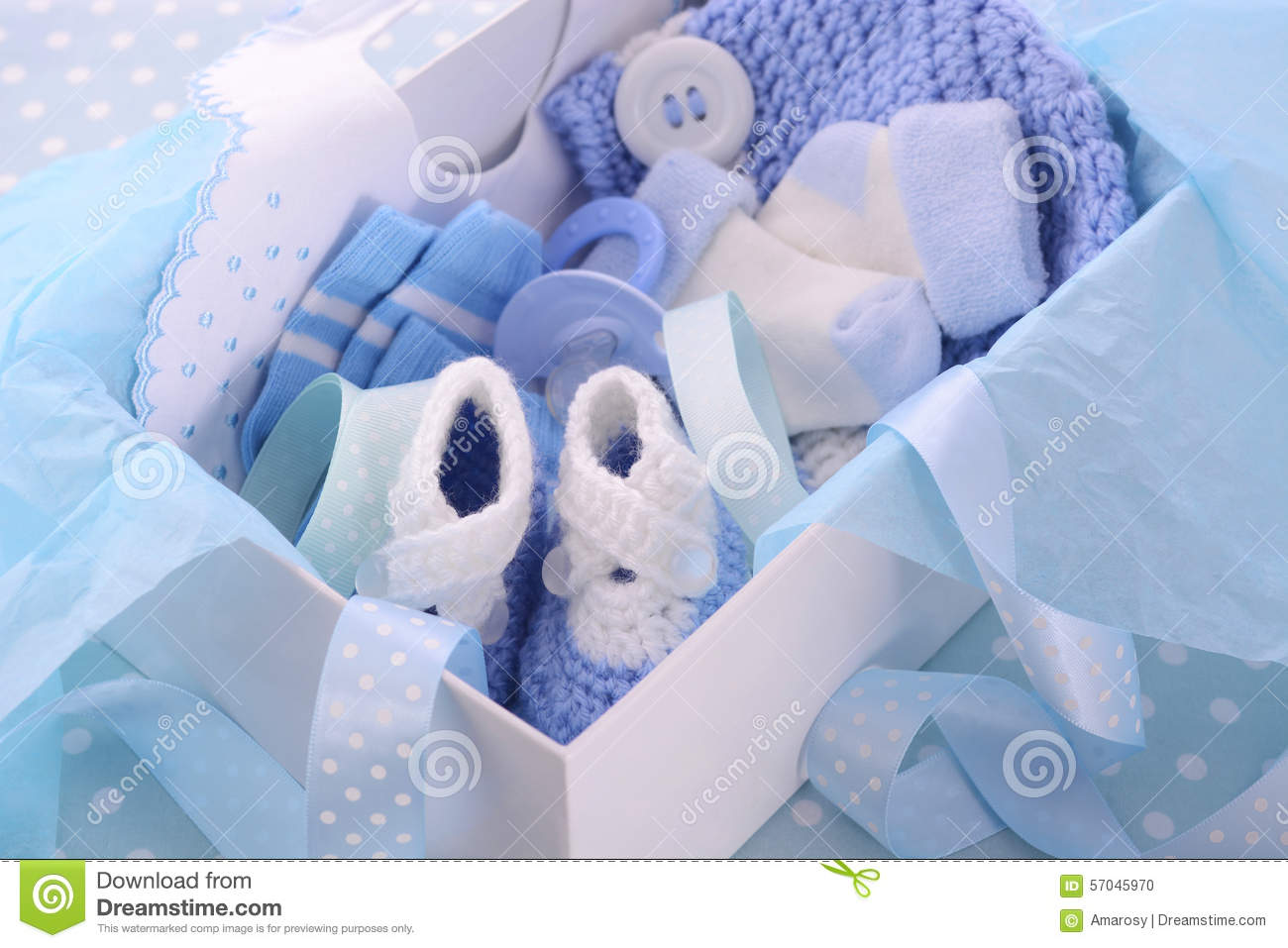 its a boy blue baby shower gift box stock photo image 57045970. Black Bedroom Furniture Sets. Home Design Ideas