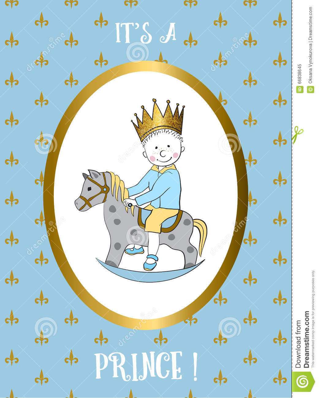 Its A Boy Card. Small Prince Riding Rocking Horse. Stock Vector ...