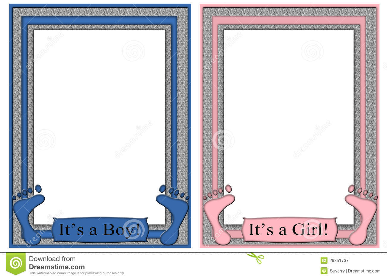 Its a boy its a girl frames baby feet stock image illustration royalty free stock photo jeuxipadfo Images