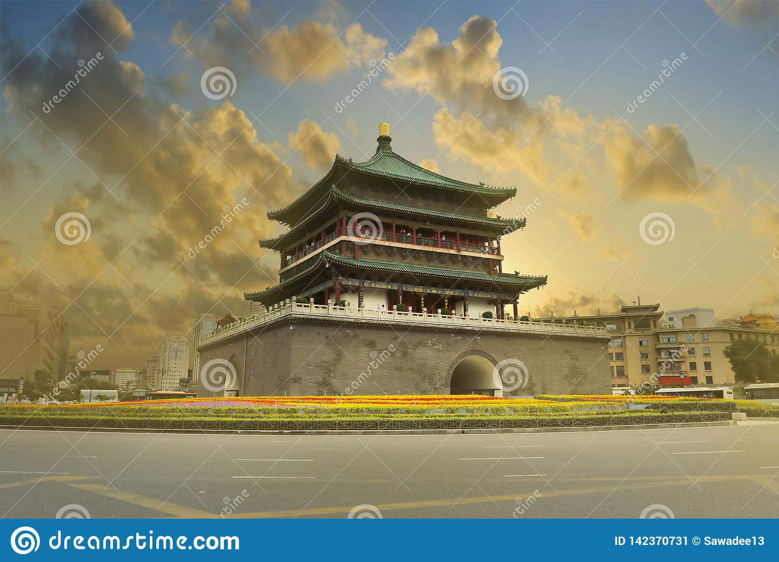 Sunset on the bell tower of the old city wall of xi an ,Shanxi ,china