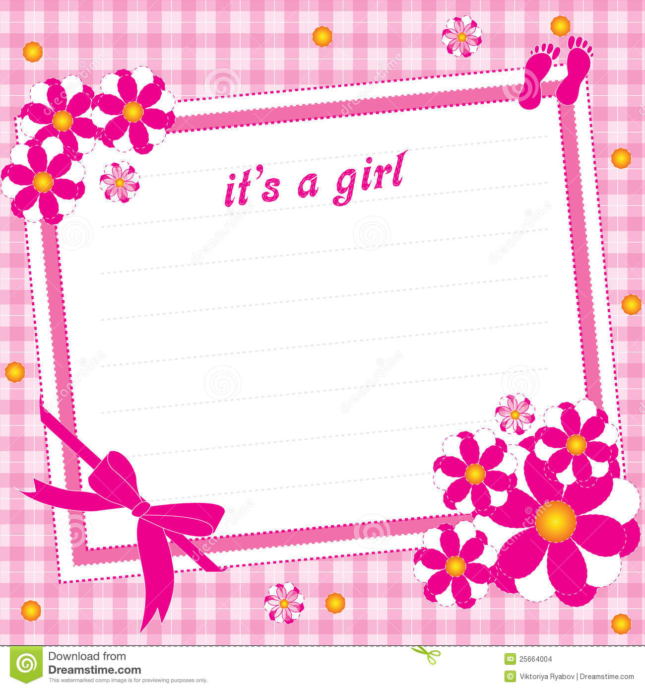 Illustration greeting card for girl on a pink background