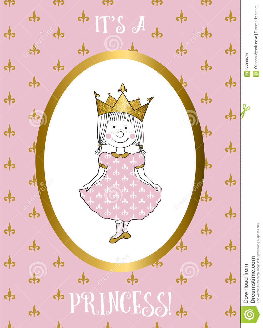 Its a girl card with small princess stock vector image for Small princess
