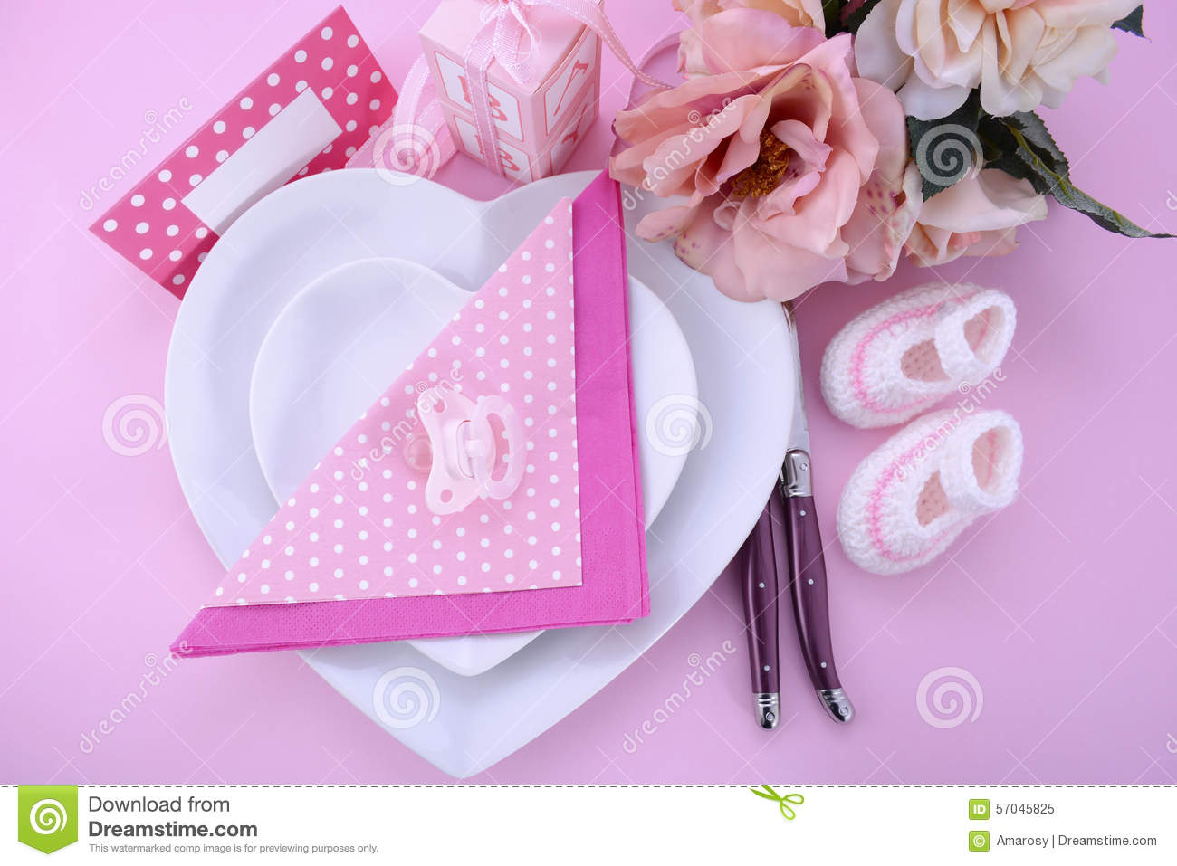 Royalty Free Stock Photo. Download Its A Girl Pink Theme Baby Shower Table  Setting ...