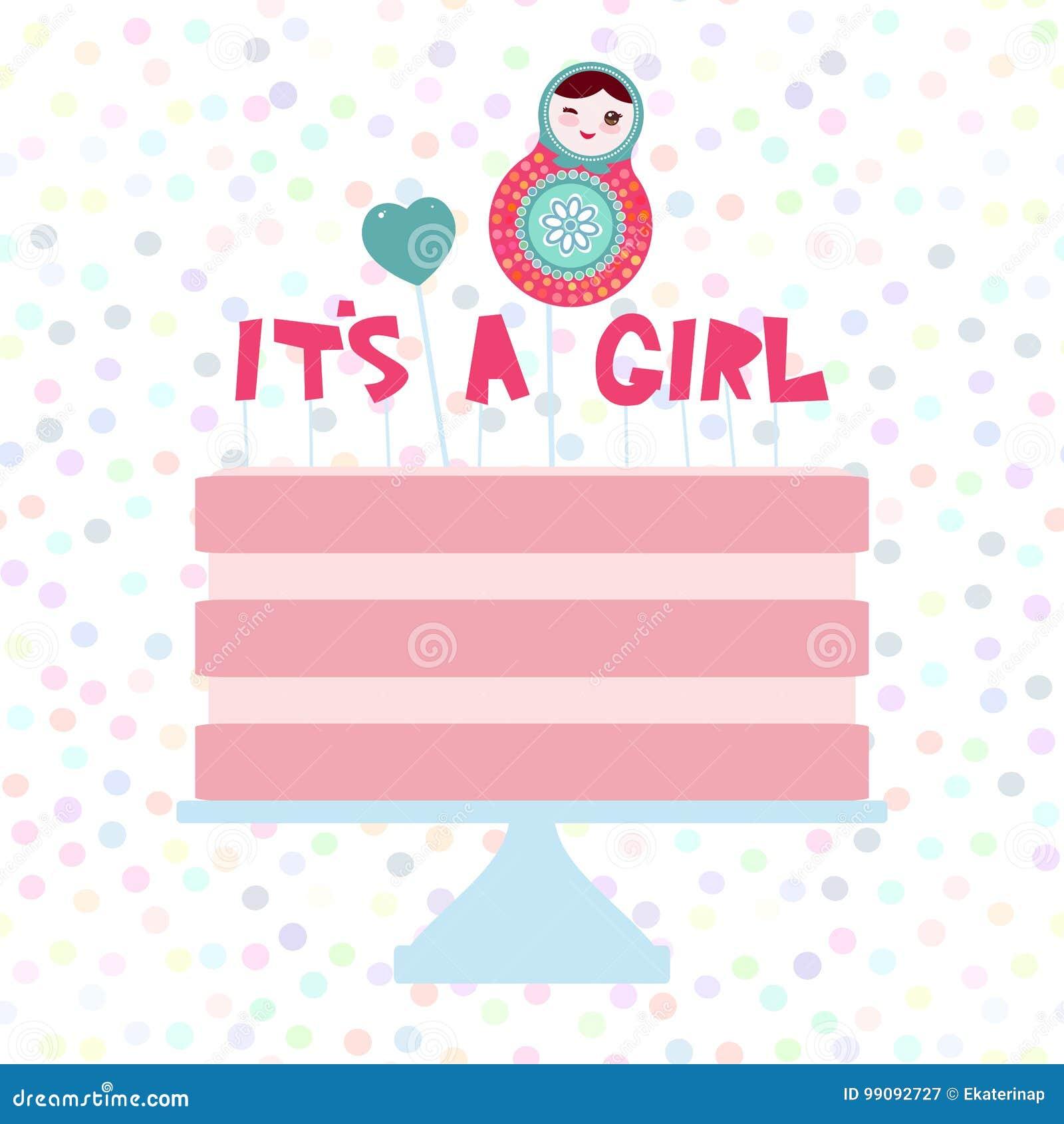 Its A Girl Sweet Pink Cake Strawberry Pink Cream Matryoshka