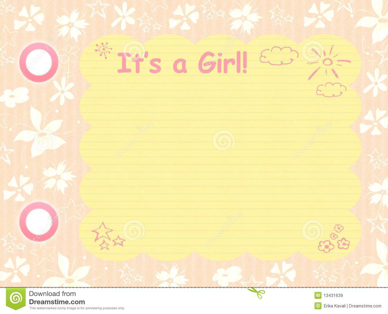 Its A Girl Template Royalty Free Stock Images - Image: 13431639