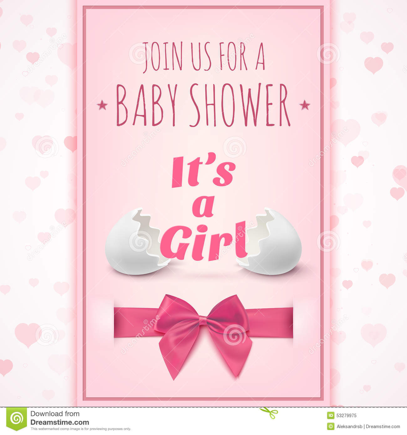 its a girl template for baby shower celebration or baby announcement