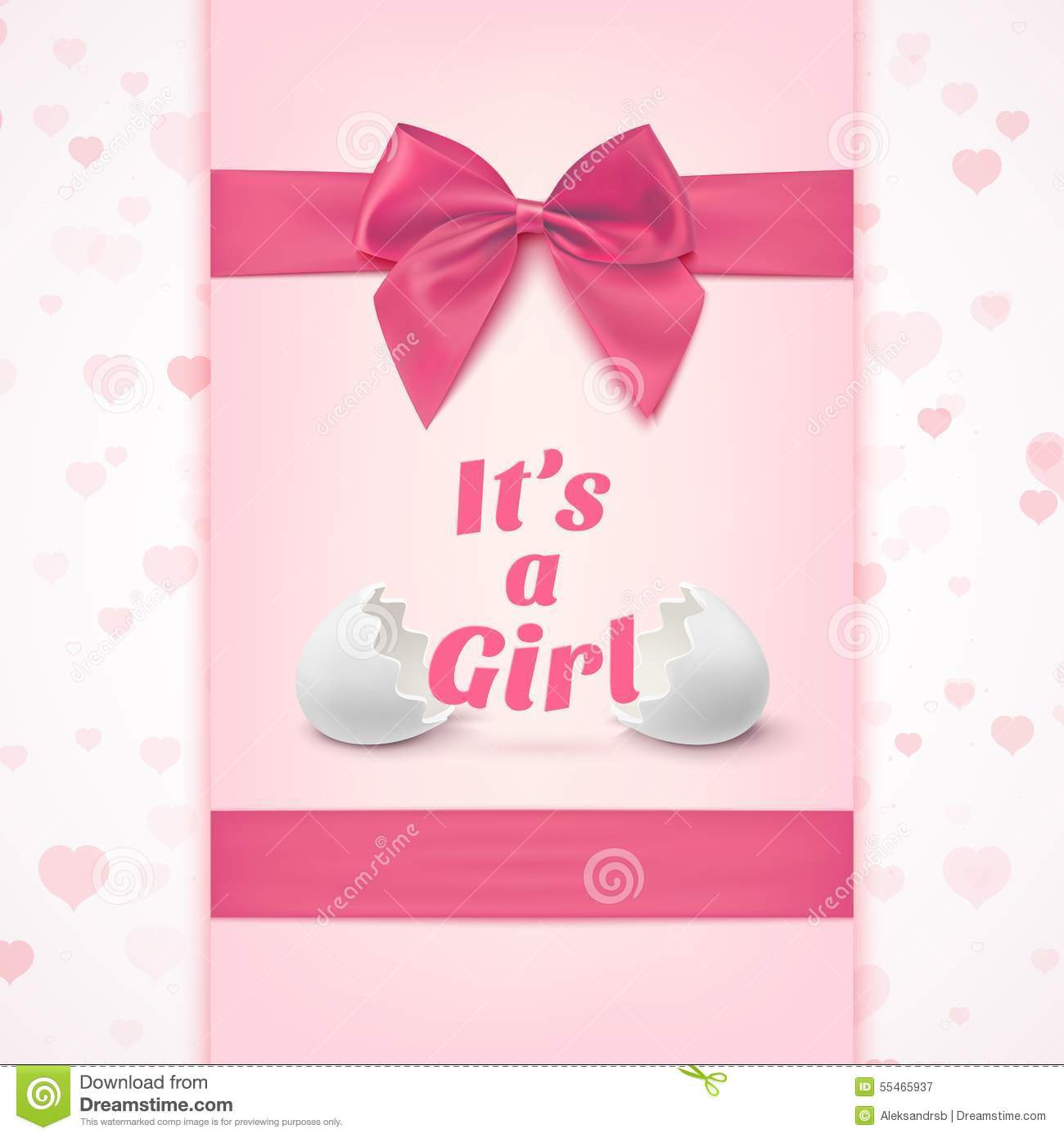 Its A Girl Template For Baby Shower Celebration Vector – Free Baby Girl Announcement Templates