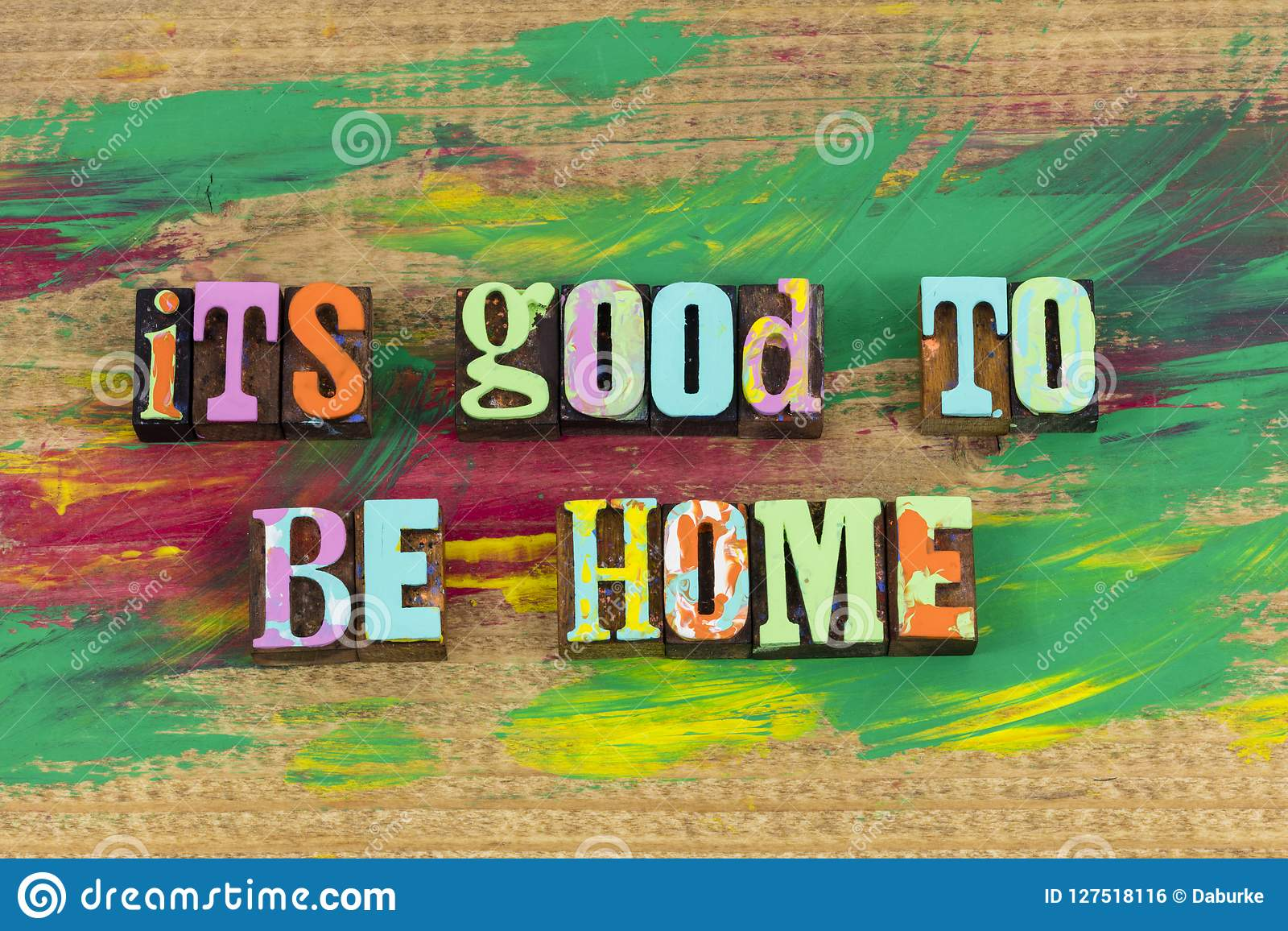 its good to be home welcome stock photo