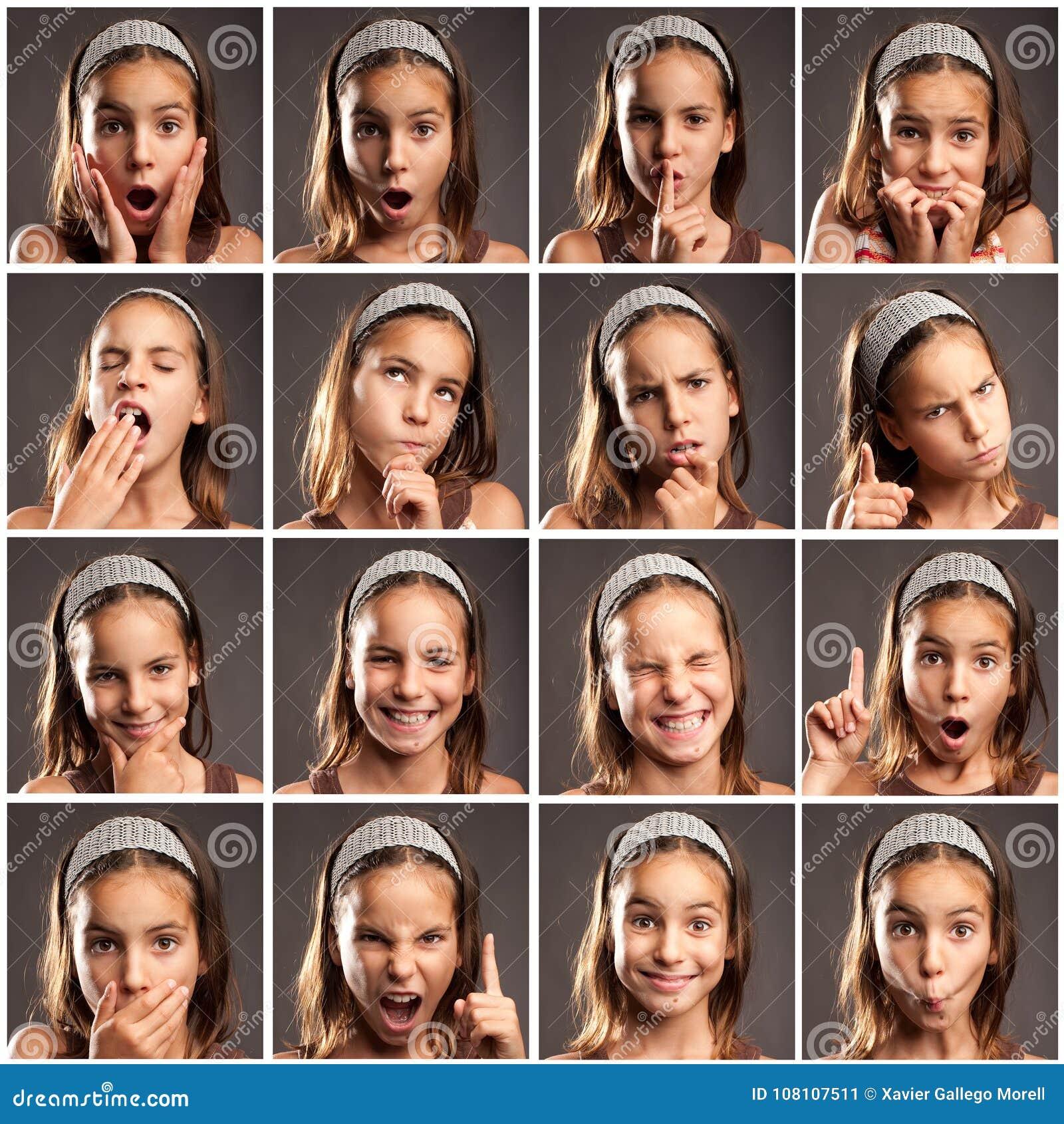 Ittle dziewczyny portrety z różnymi wyrażeniami
