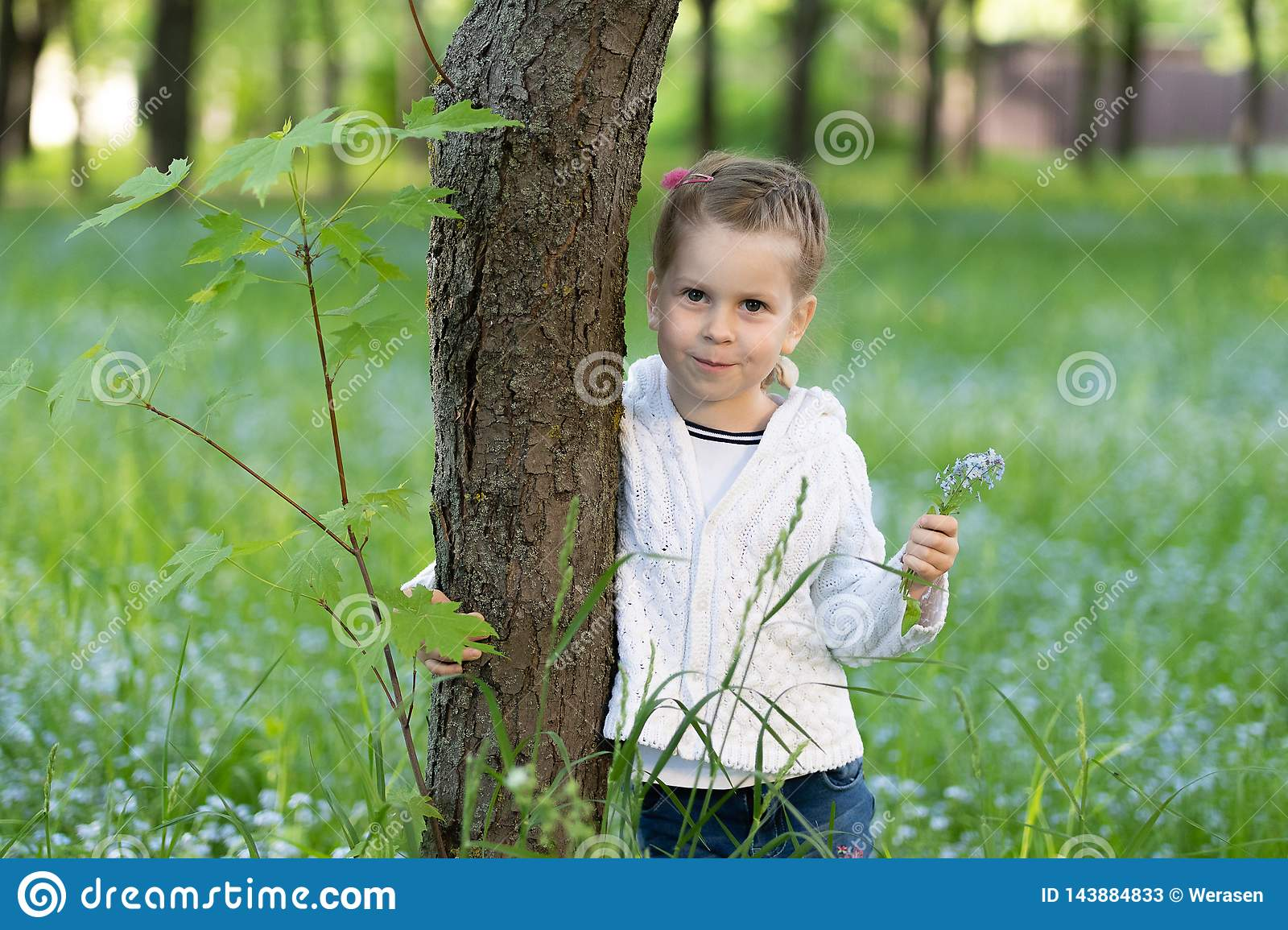 Ittle girl with a bunch of forget-me-nots in her hand peeking from behind a tree