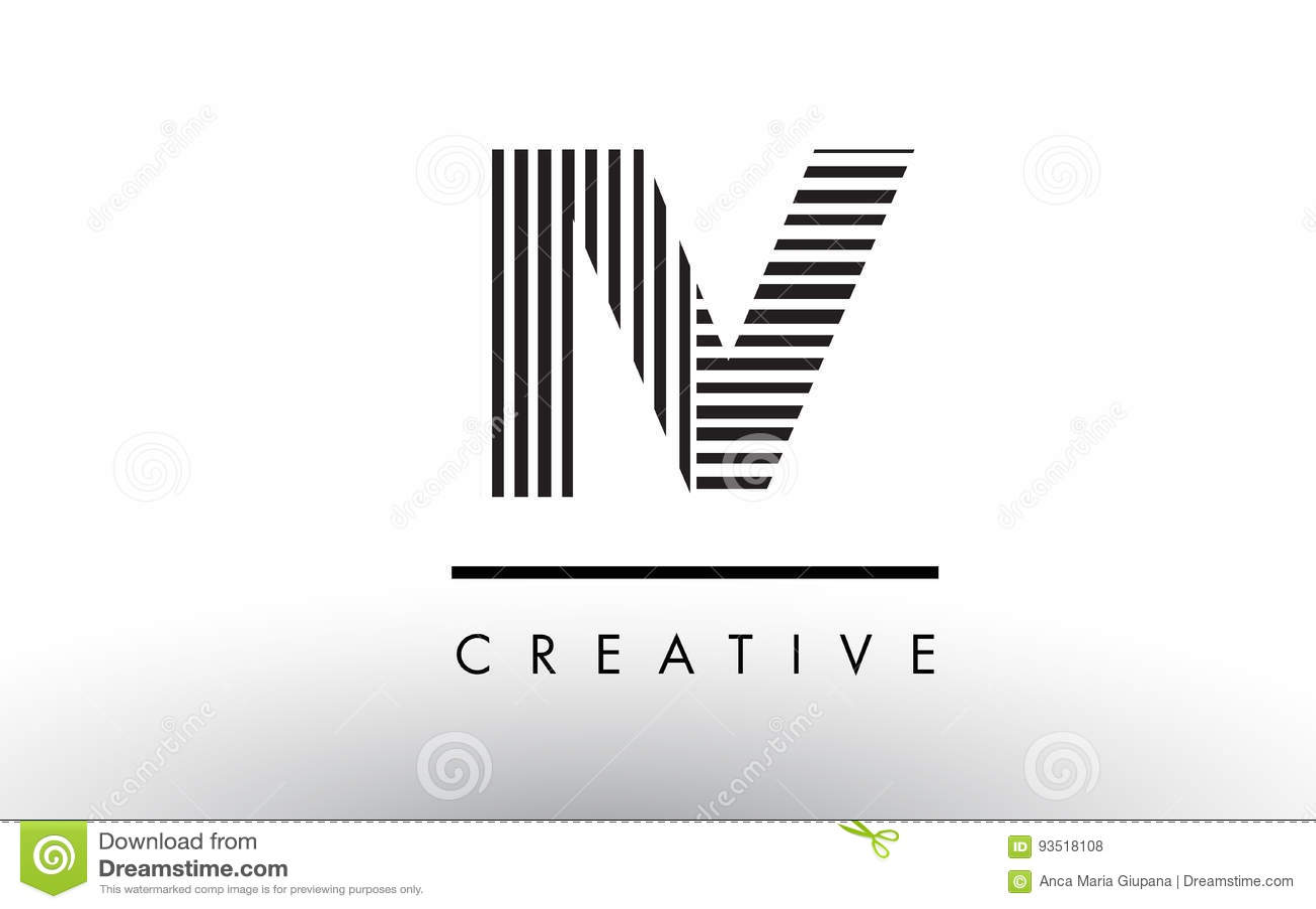 Iv I V Black And White Lines Letter Logo Design Stock Vector