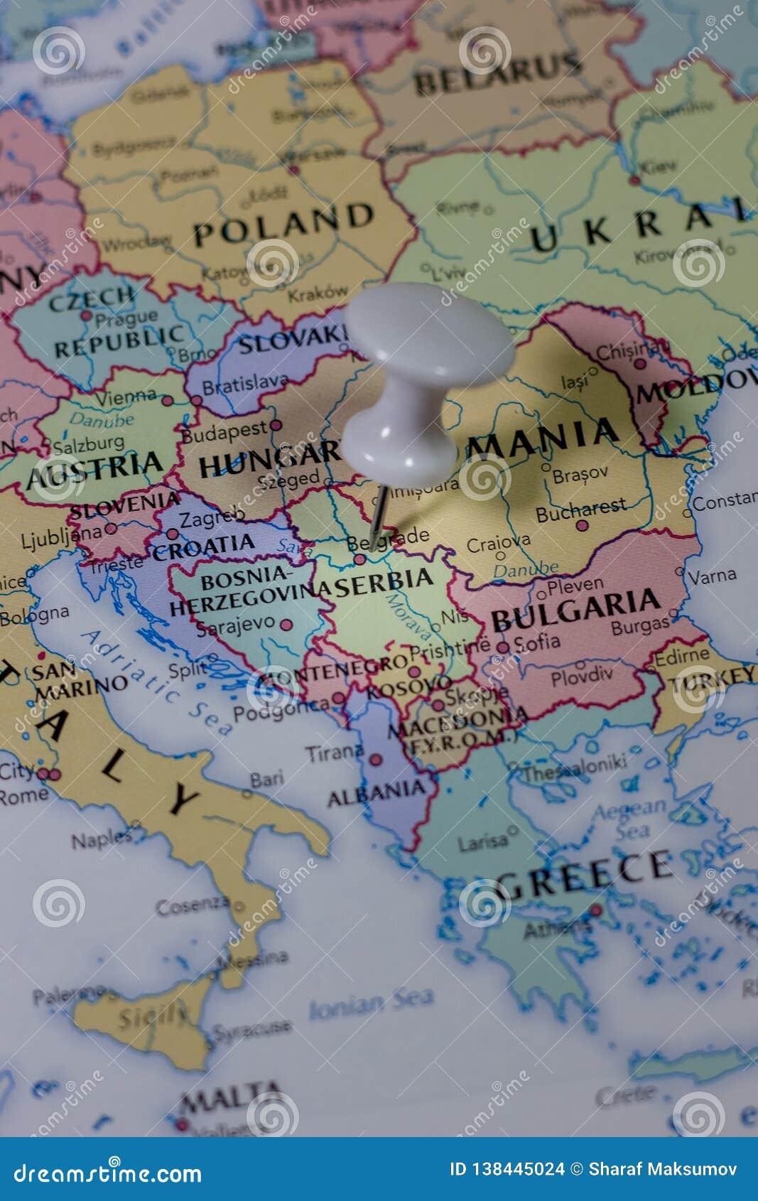 Ivanovsk Russia February 04 2019 Serbia The Map
