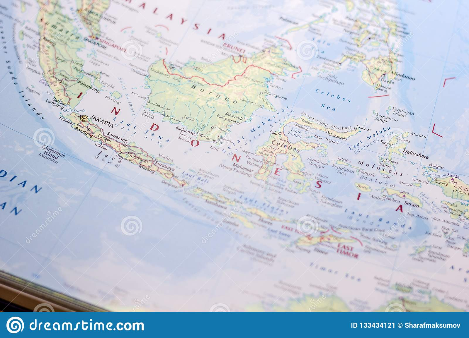 Ivanovsk, Russia - November 24, 2018: Indonesia on the map of the world